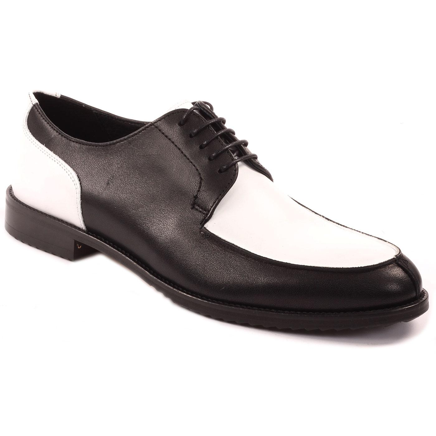 LACUZZO Mod Two Tone Leather Jam Shoes BLACK/WHITE