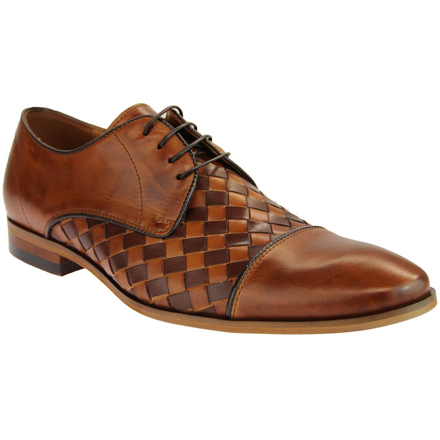 LACUZZO Mod Retro 2-Tone Basket Weave Derby Shoes
