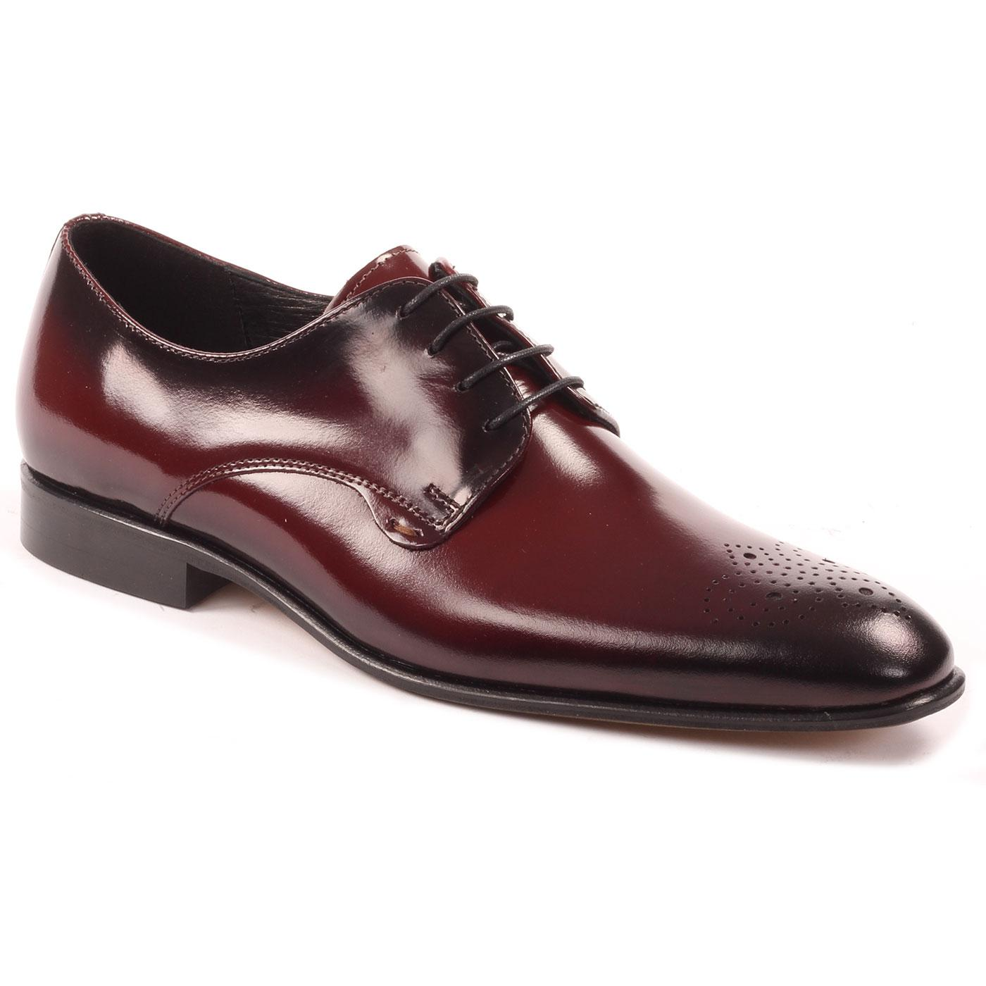 LACUZZO Mod High Shine Leather Brogues (Claret)