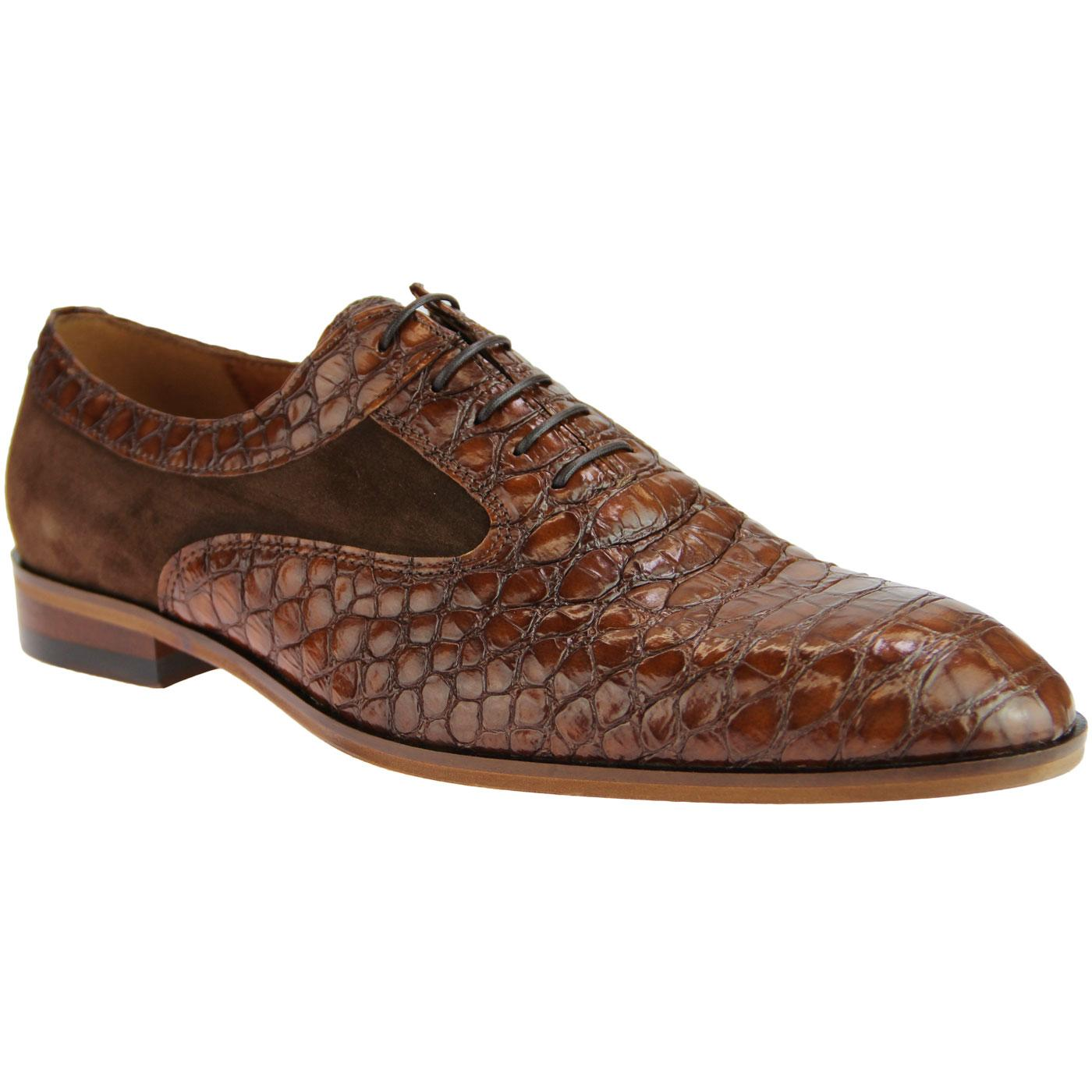 LACUZZO Retro Mod Croc Stamp Oxford Shoes (Tan)