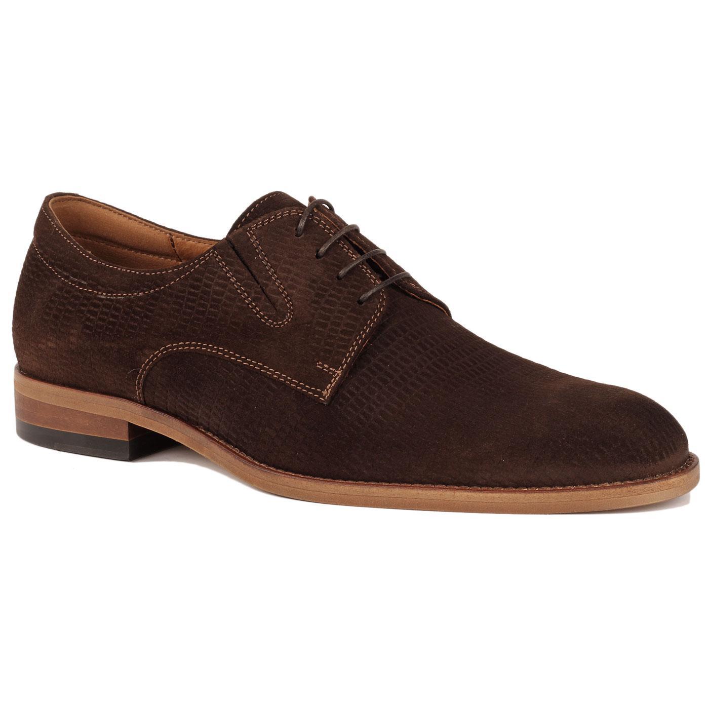 LACUZZO Men's Retro Croc Stamp Suede Shoes (Brown)