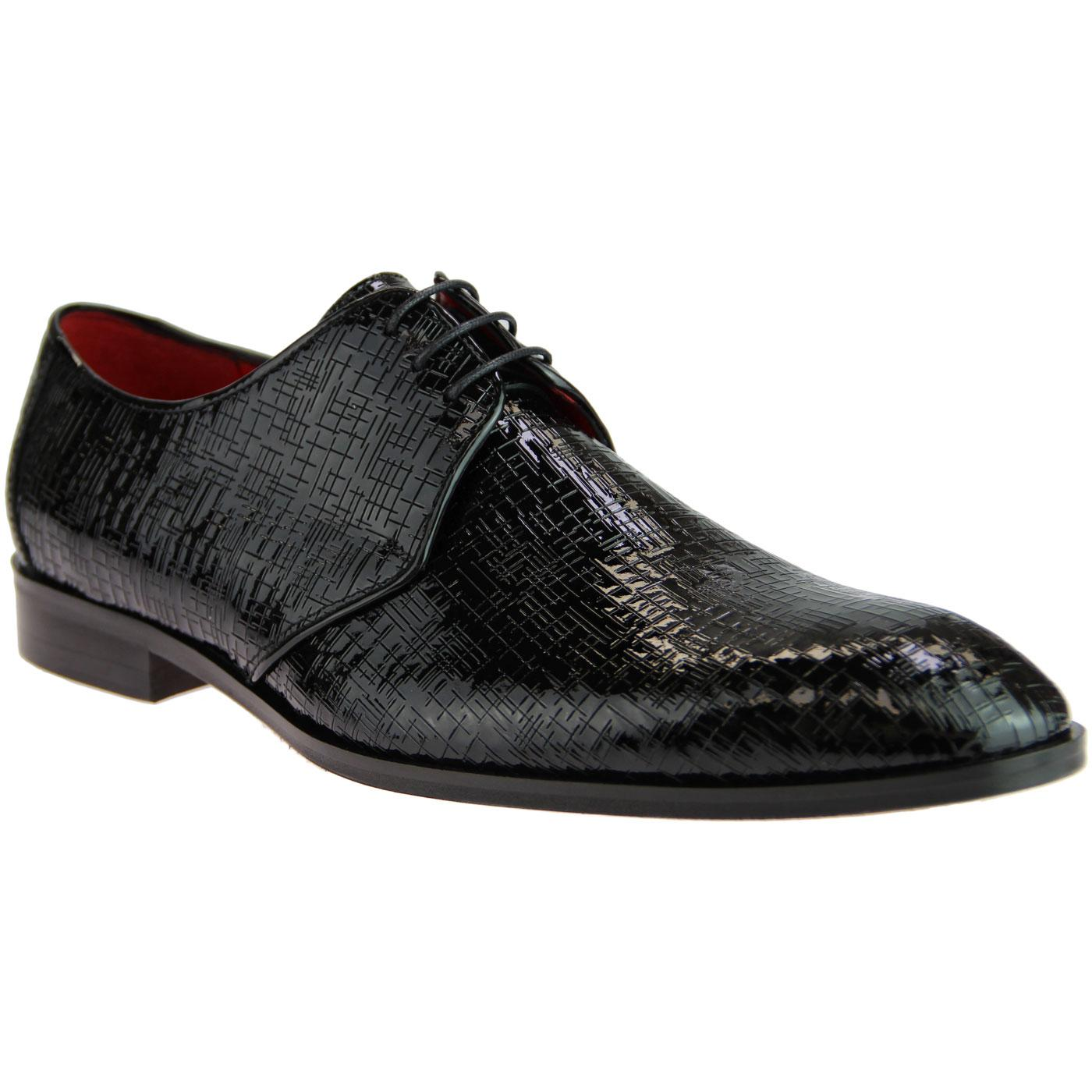 LACUZZO Retro Mod Etched Patent Smart Dress Shoes