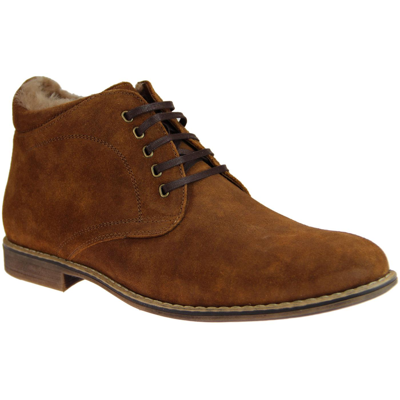 LACUZZO Retro Fur Lined Side Zip Suede Boots BROWN