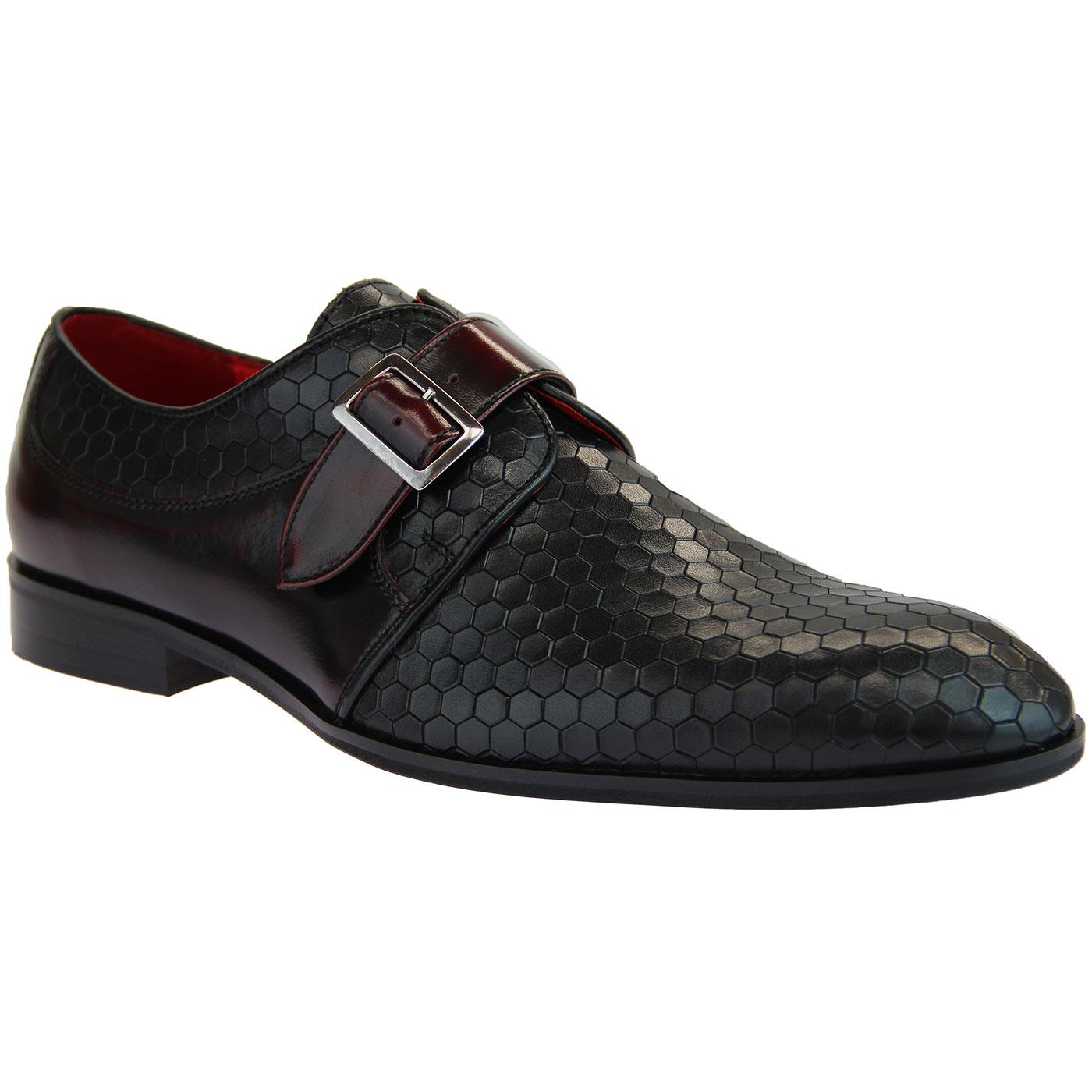 LACUZZO Mod Honeycomb Leather Monk Strap Loafers B