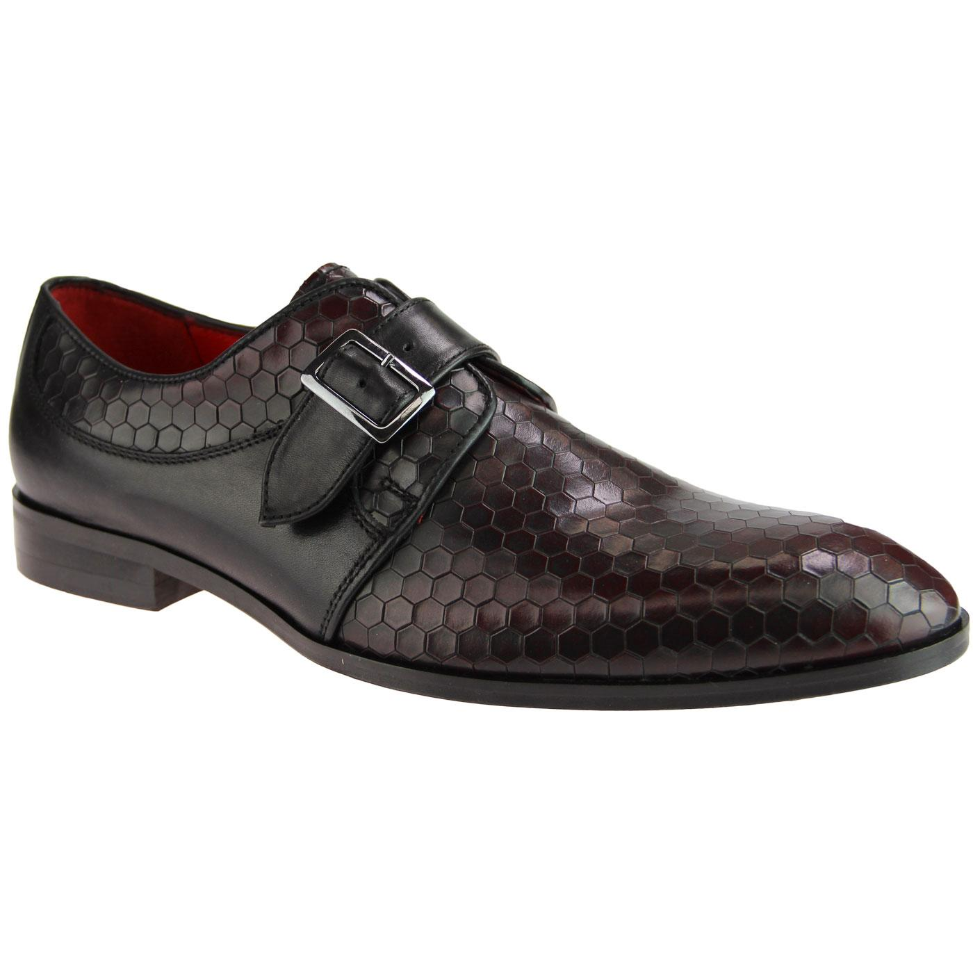 Lane LACUZZO Mod Honeycomb Leather Loafers CLARET