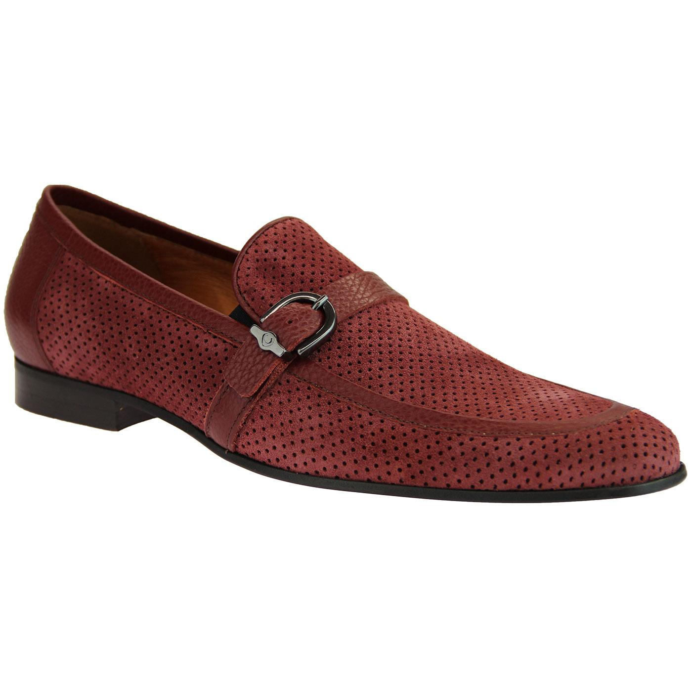 LACUZZO Mens 60s Mod Perforated Suede Loafers C
