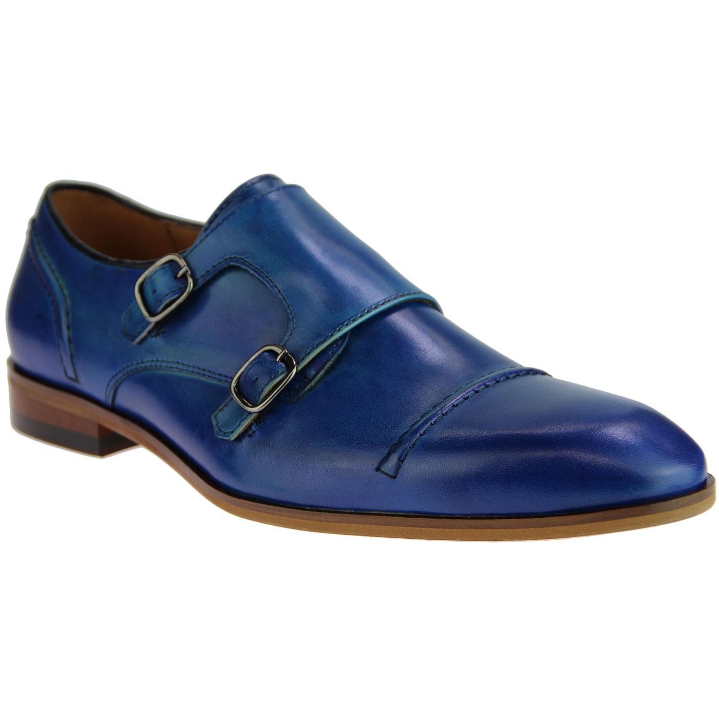 LACUZZO Men's Retro Mod Double Monk Shoes (Blue)