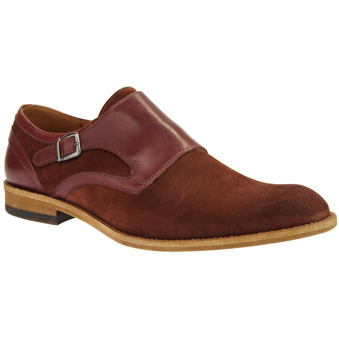 LACUZZO Retro Suede & Leather 60s Mod Monk Shoes
