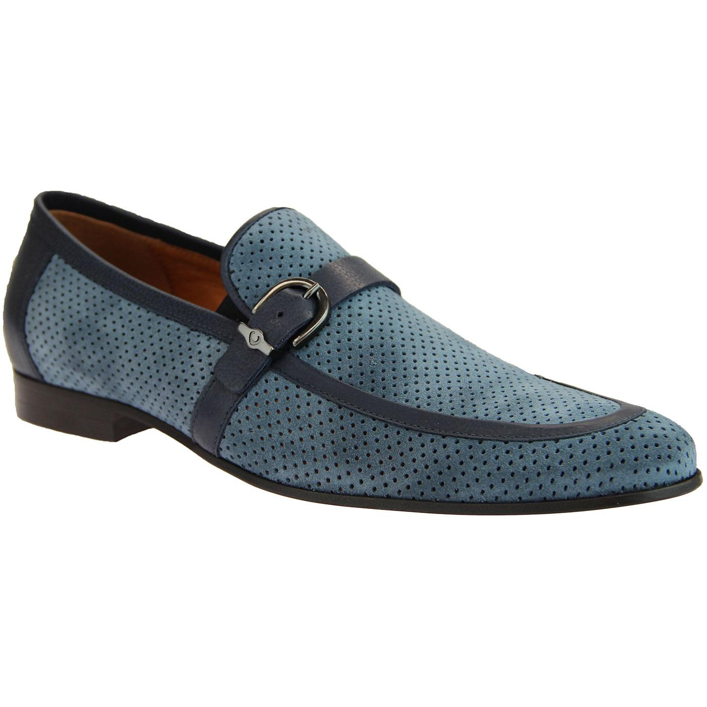 LACUZZO Mens 60s Mod Perforated Suede Loafers BLUE