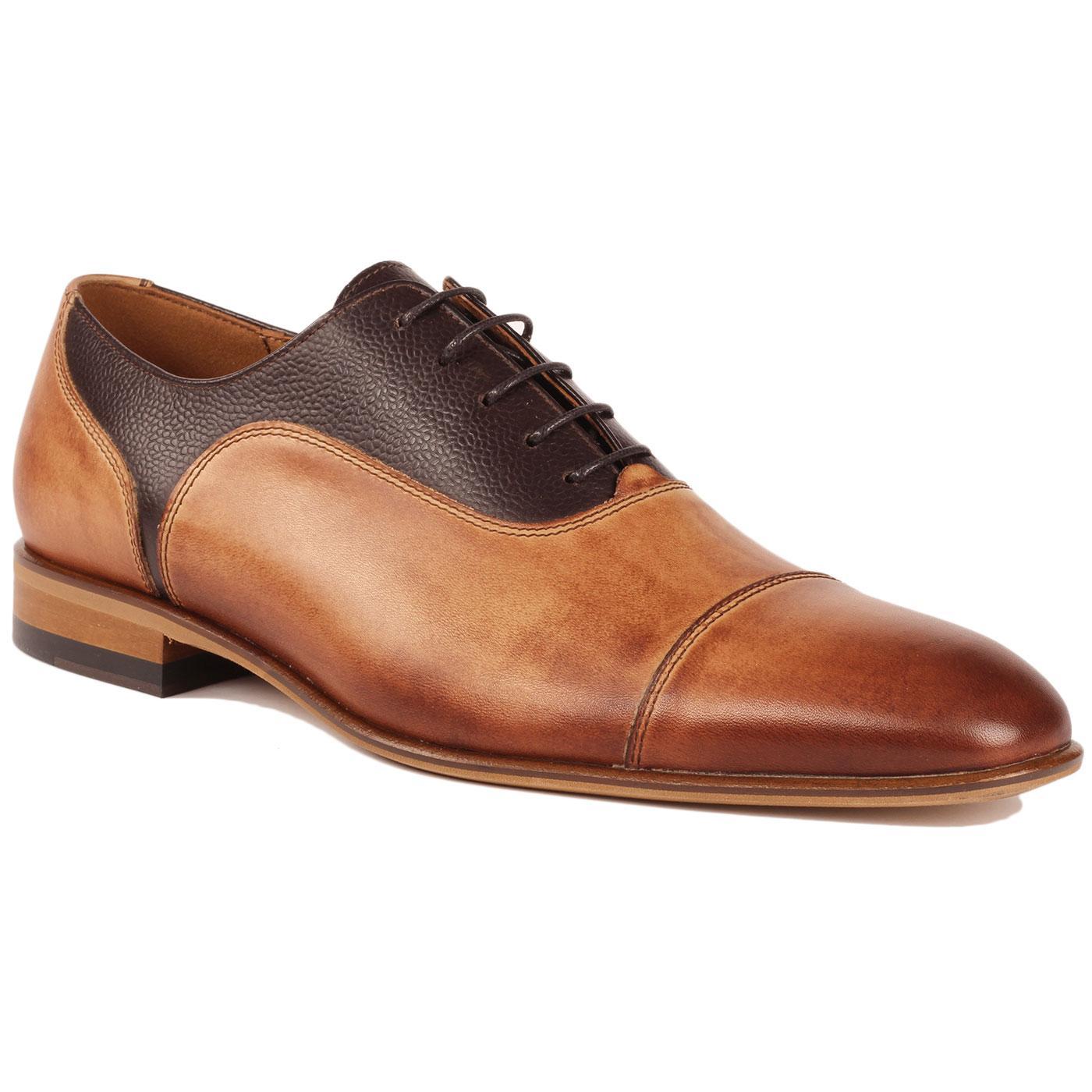 LACUZZO Mod Scotch Grain Burnished Toe Cap Shoes