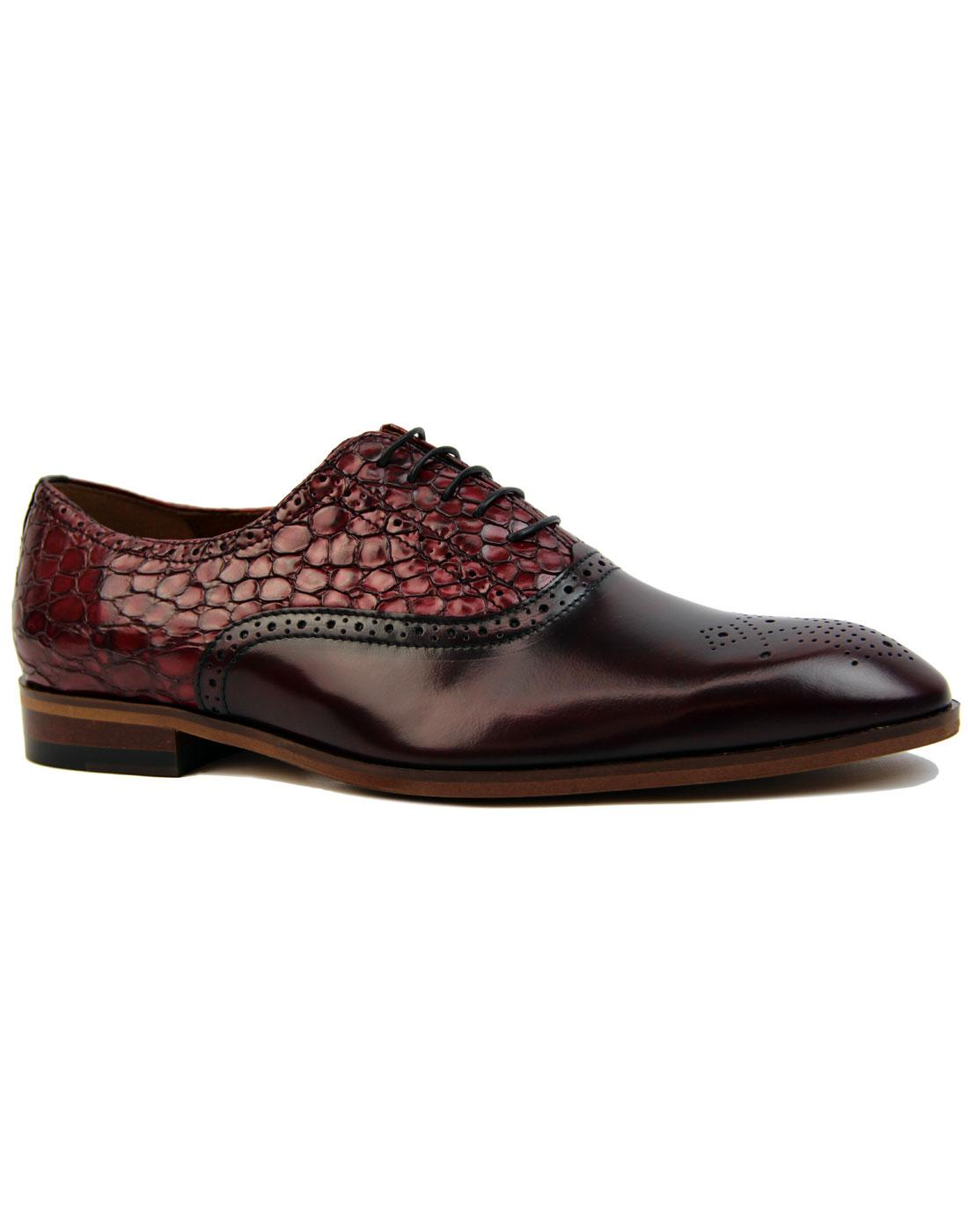 Sirhiss LACUZZO Retro Mod Snake Stamp Shoes CLARET