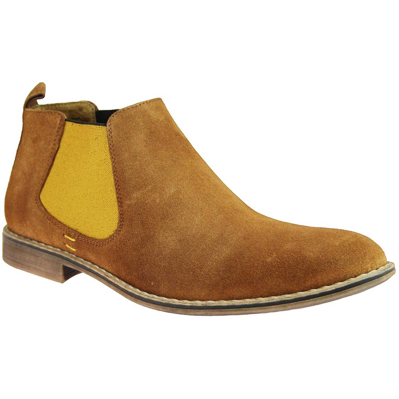LACUZZO Contrast Gusset Suede Chelsea Boots (T/Y)