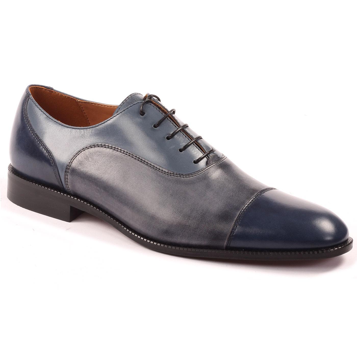 LACUZZO Retro Mod Tri-Colour Toecap Shoes (Navy)