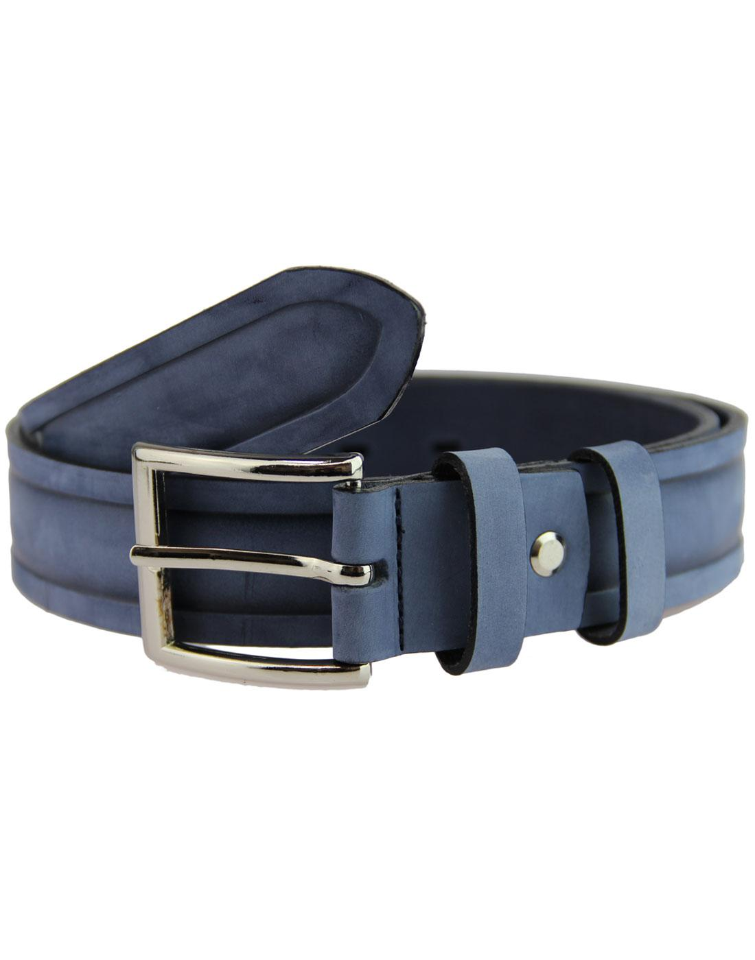 LACUZZO Retro Nubuck Distressed Ridge Belt NAVY