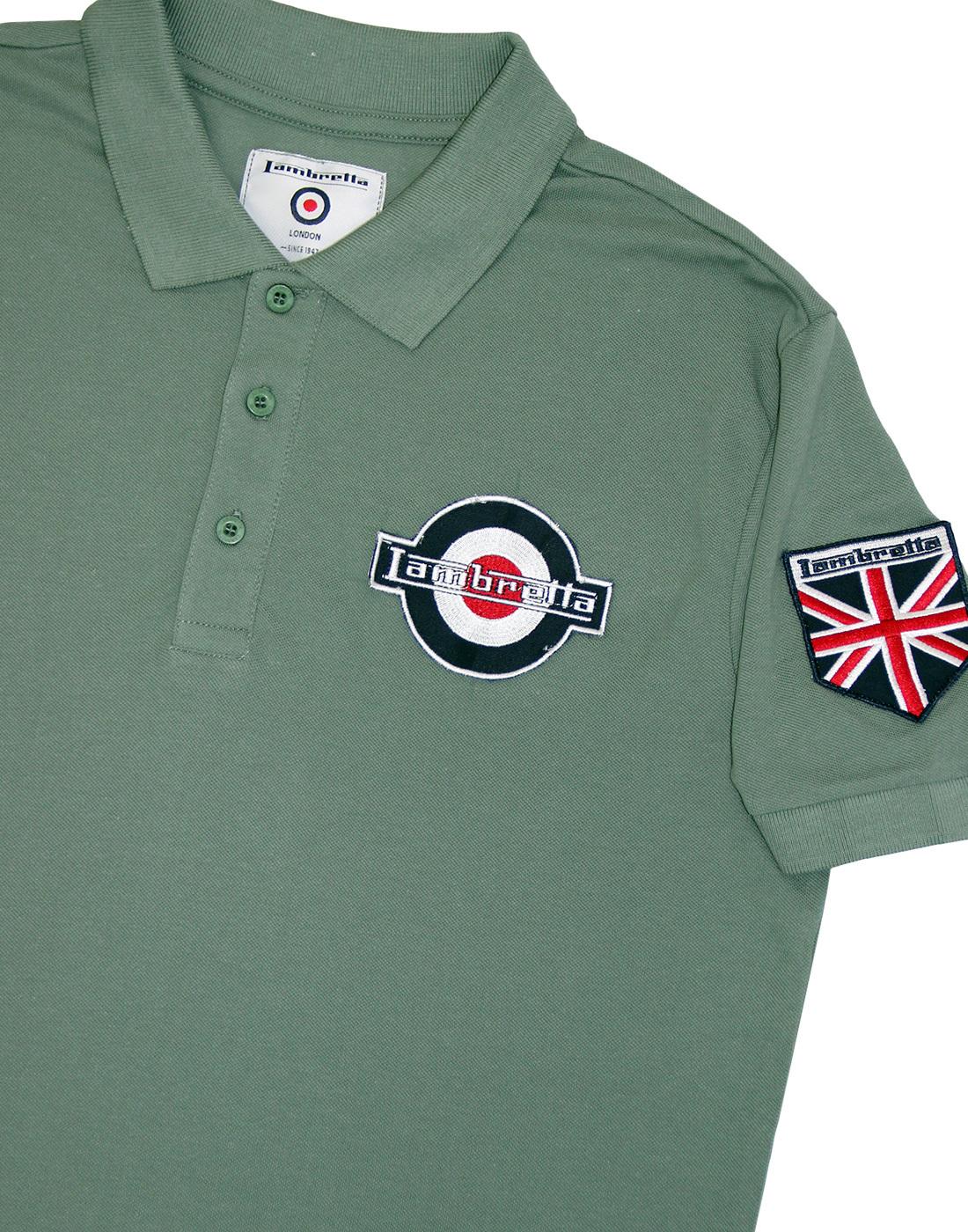 Lambretta Khaki 100/% Cotton 2 Badge Polo Shirts …