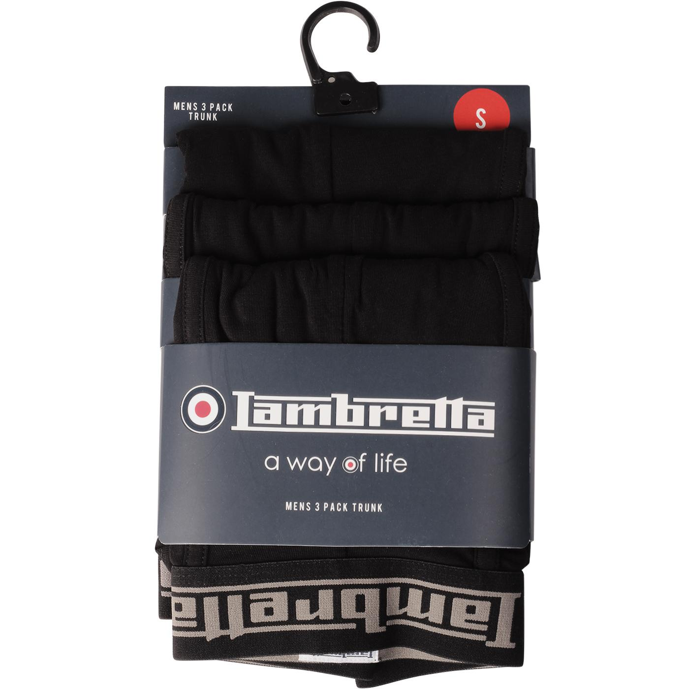 LAMBRETTA 3 Pack Boxer Shorts (Black)