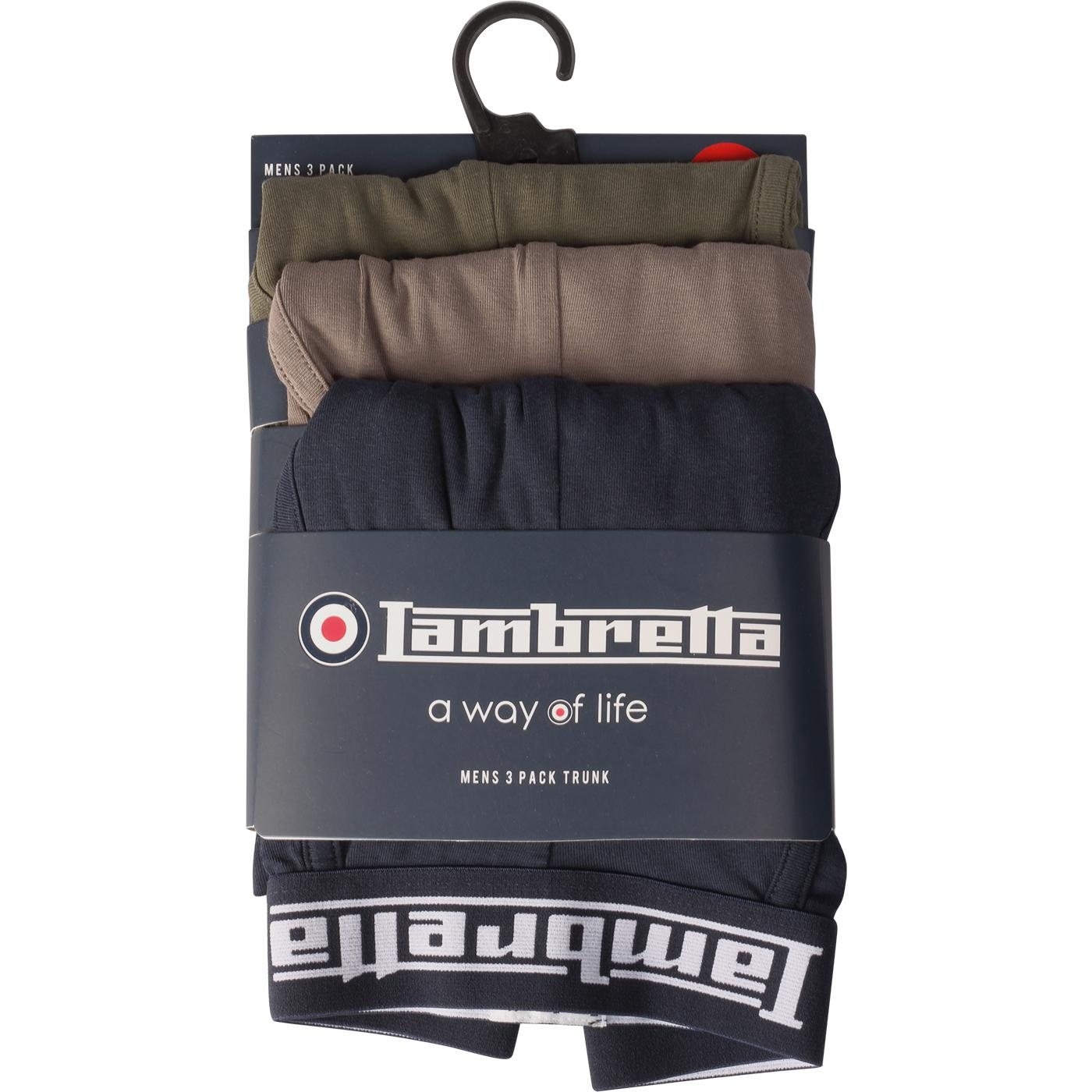 LAMBRETTA 3 Pack Boxer Shorts (Blue/Grey/Beetle)
