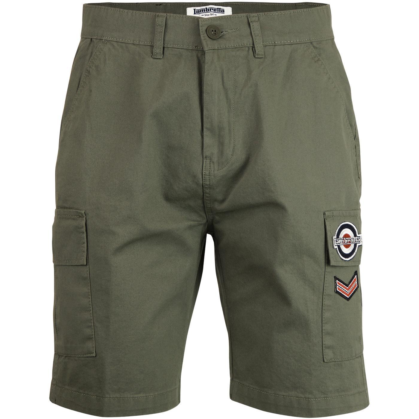 LAMBRETTA Men's Retro Mod Military Cargo Shorts K