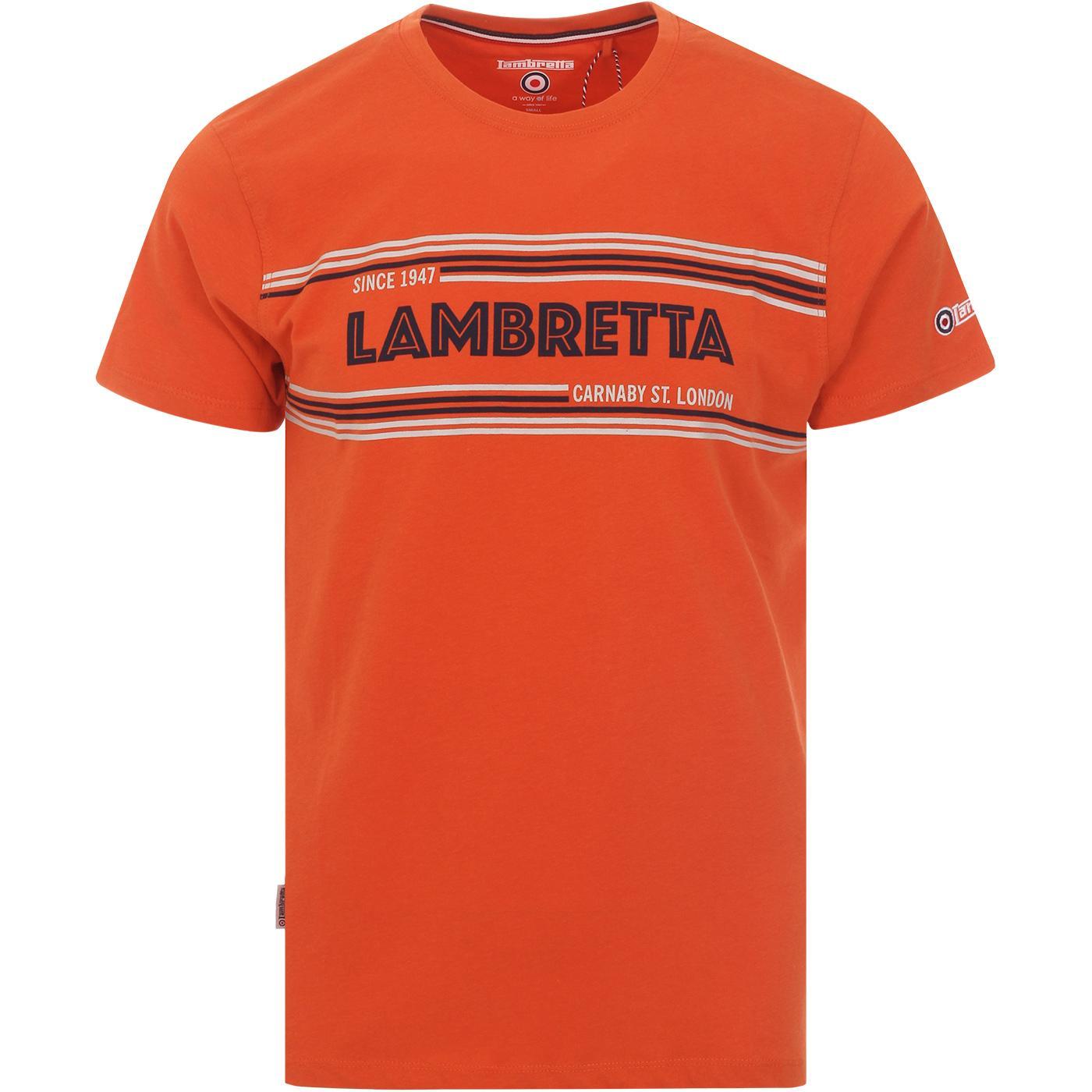 LAMBRETTA Retro Carnaby Chest Logo Tee In Orange