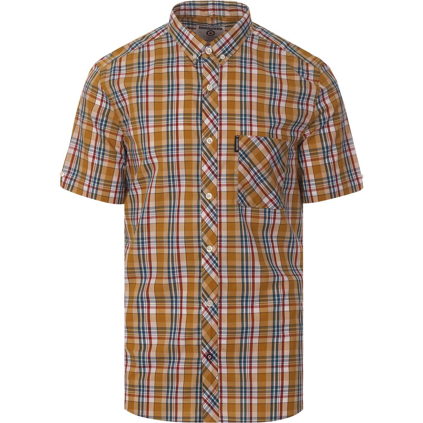 LAMBRETTA Mod S/S Plaid Check Shirt (Mustard)