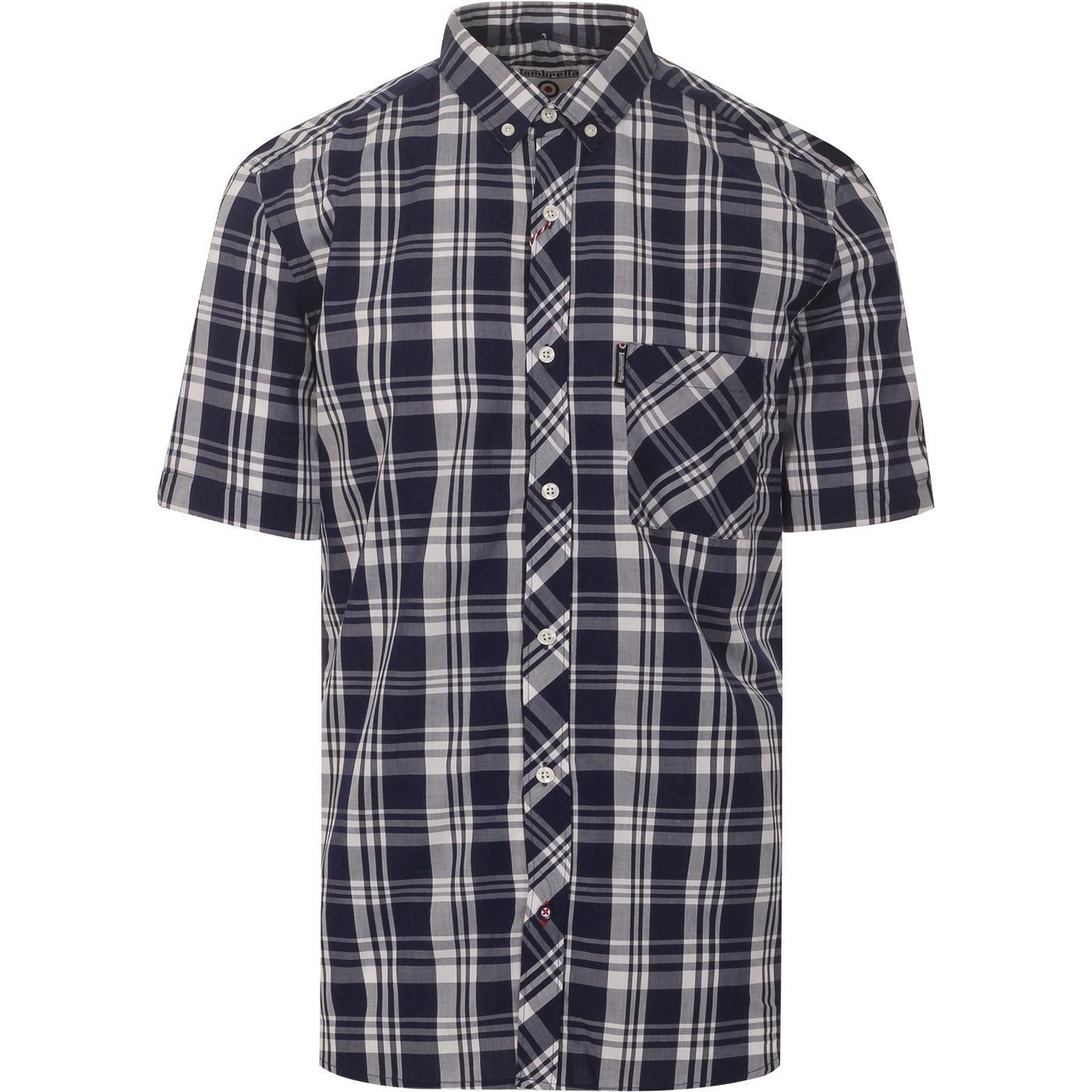 LAMBRETTA Men's Mod S/S Check Shirt (Navy/White)