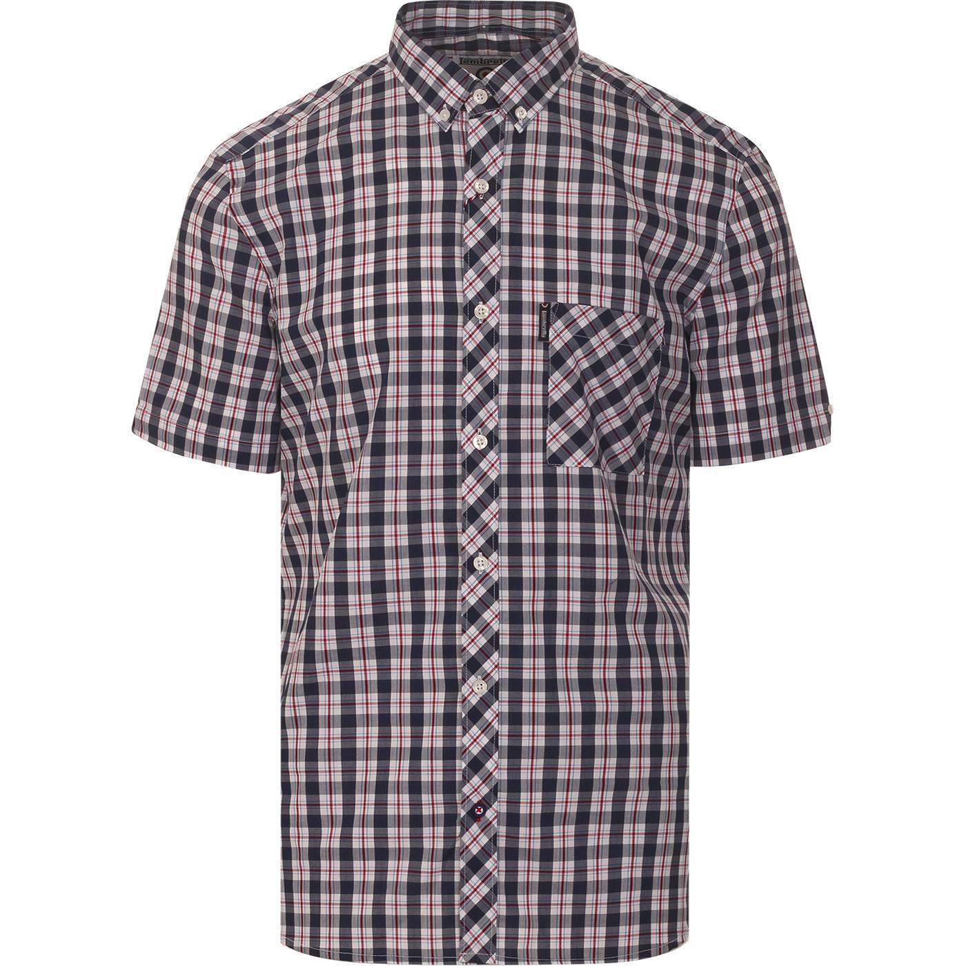 LAMBRETTA Mod S/S Plaid Check Shirt (Navy/Red)