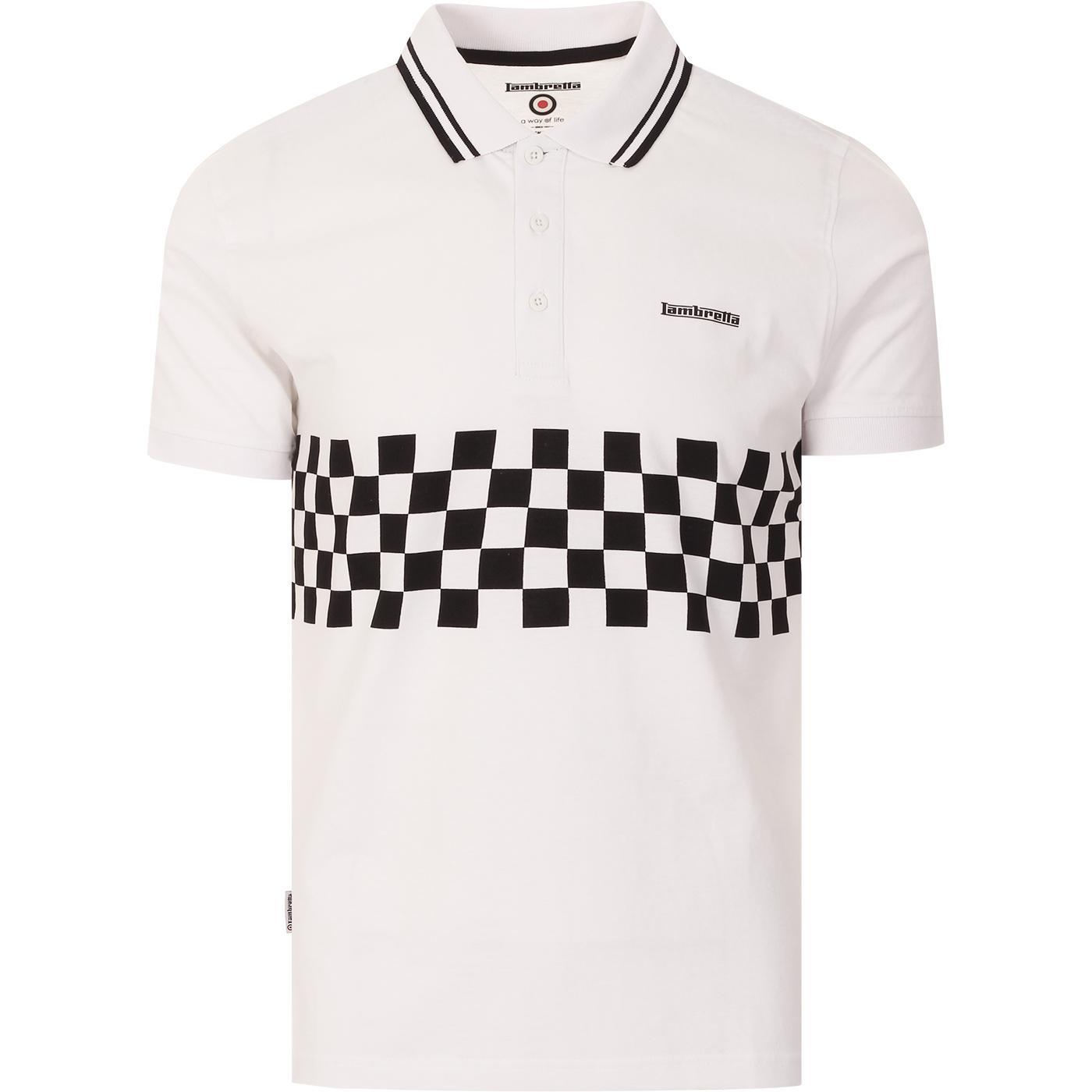 LAMBRETTA Mod Ska Checkerboard Polo Top (White)