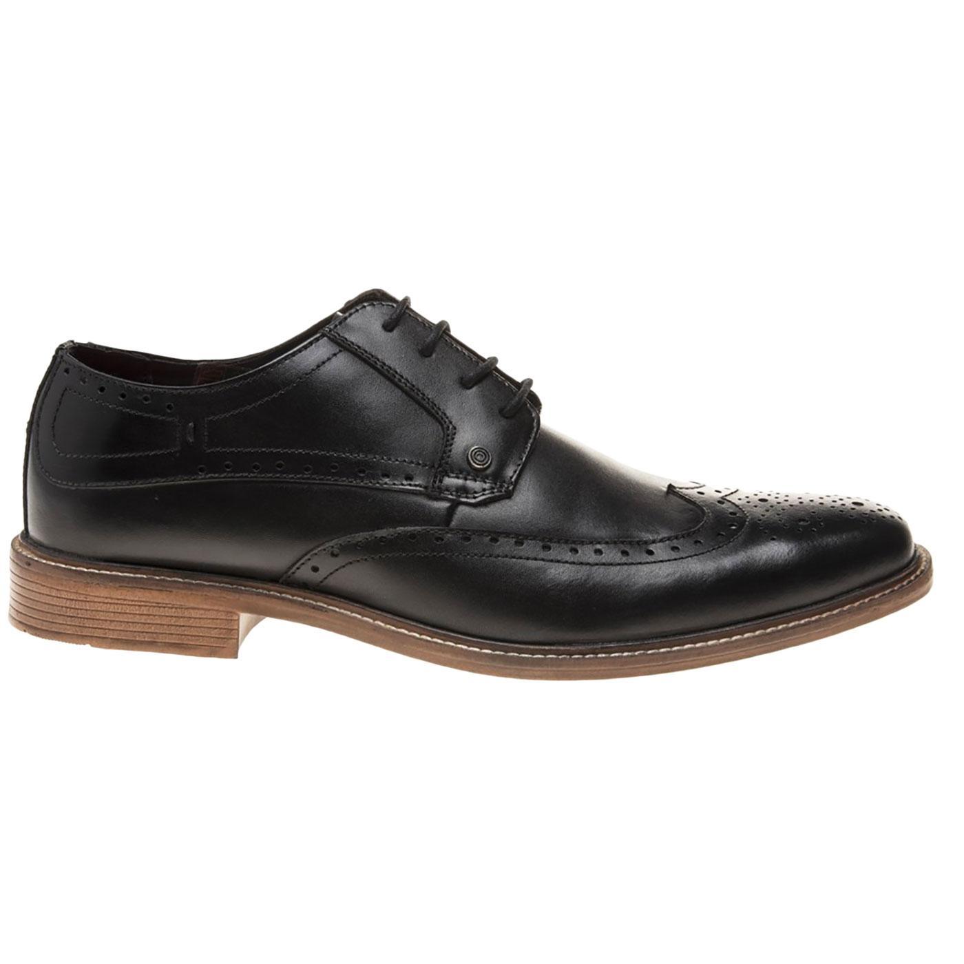 LAMBRETTA Men's 60s Mod Derby Brogue Shoes (Black)