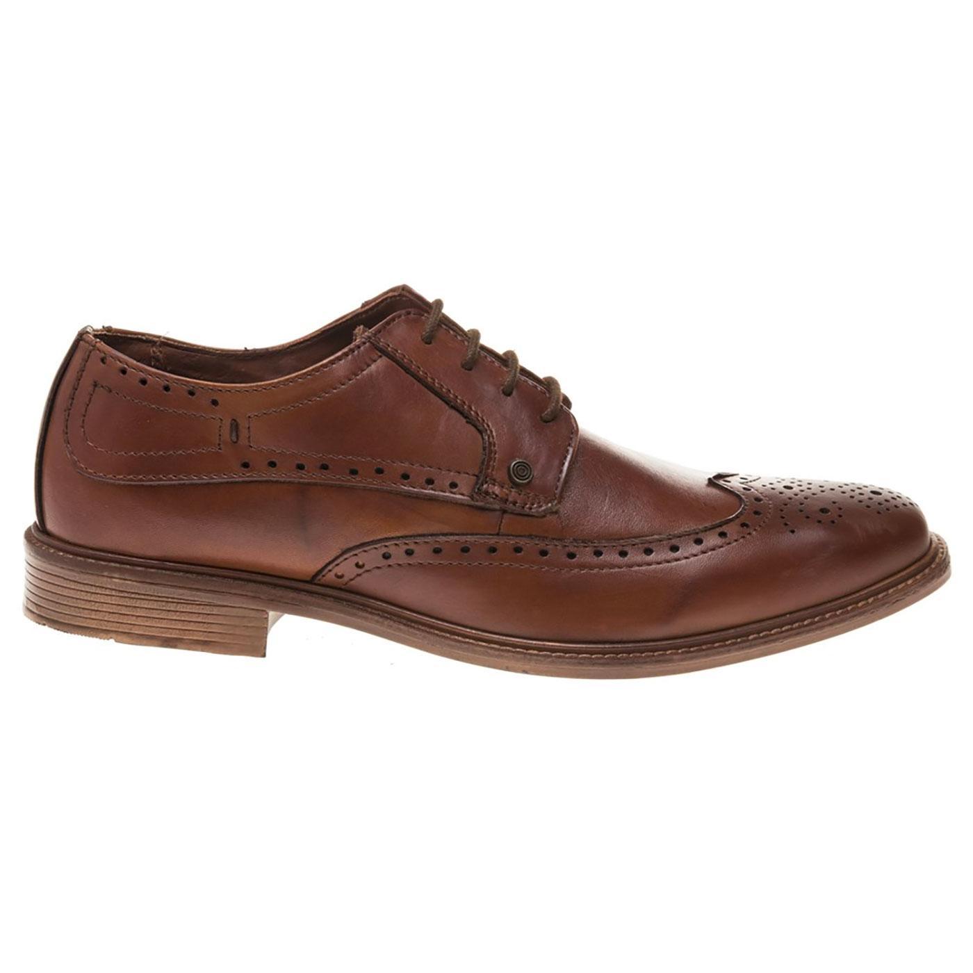 LAMBRETTA Men's 60s Mod Derby Brogue Shoes (Tan)