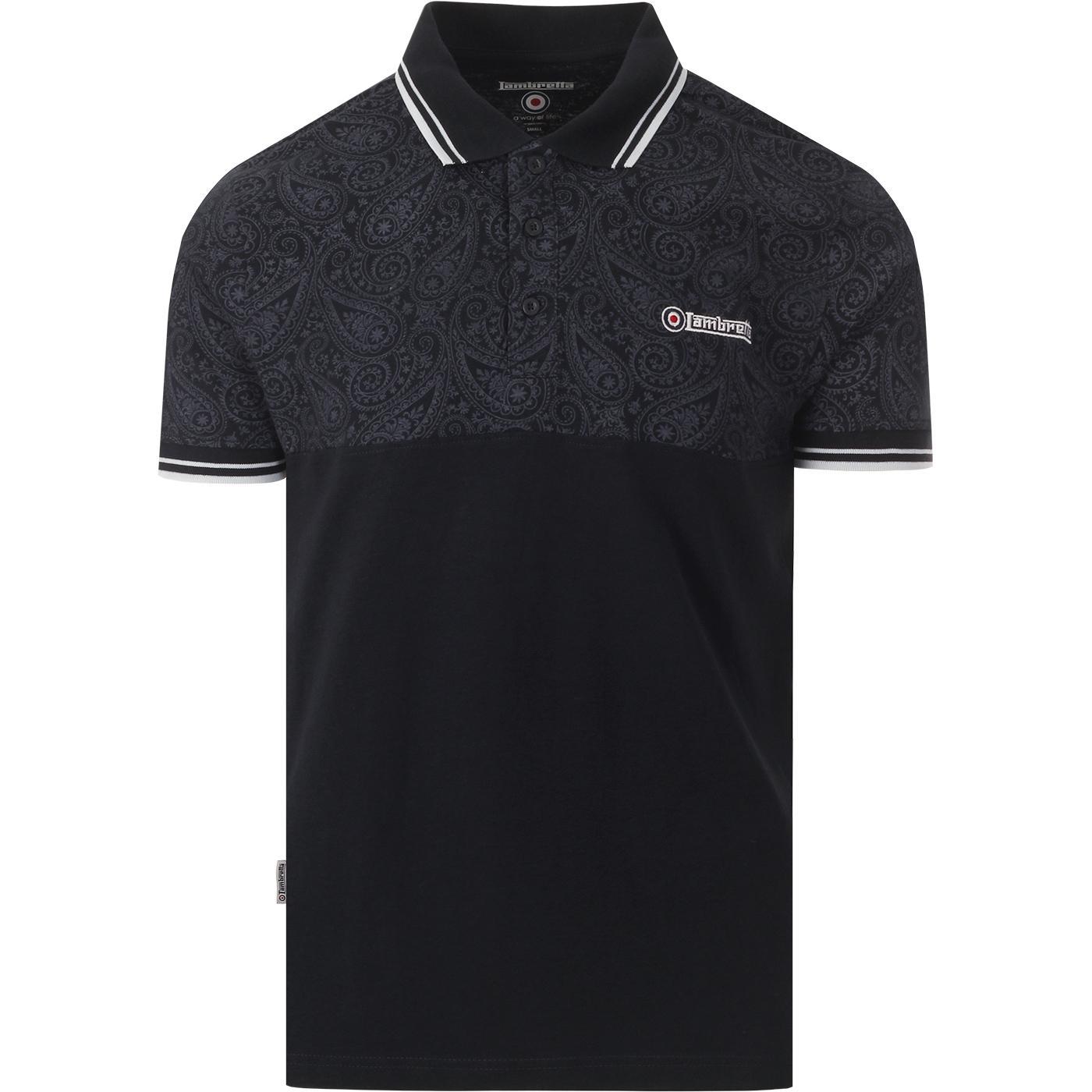 LAMBRETTA Retro Mod Paisley Panel Polo Shirt NAVY