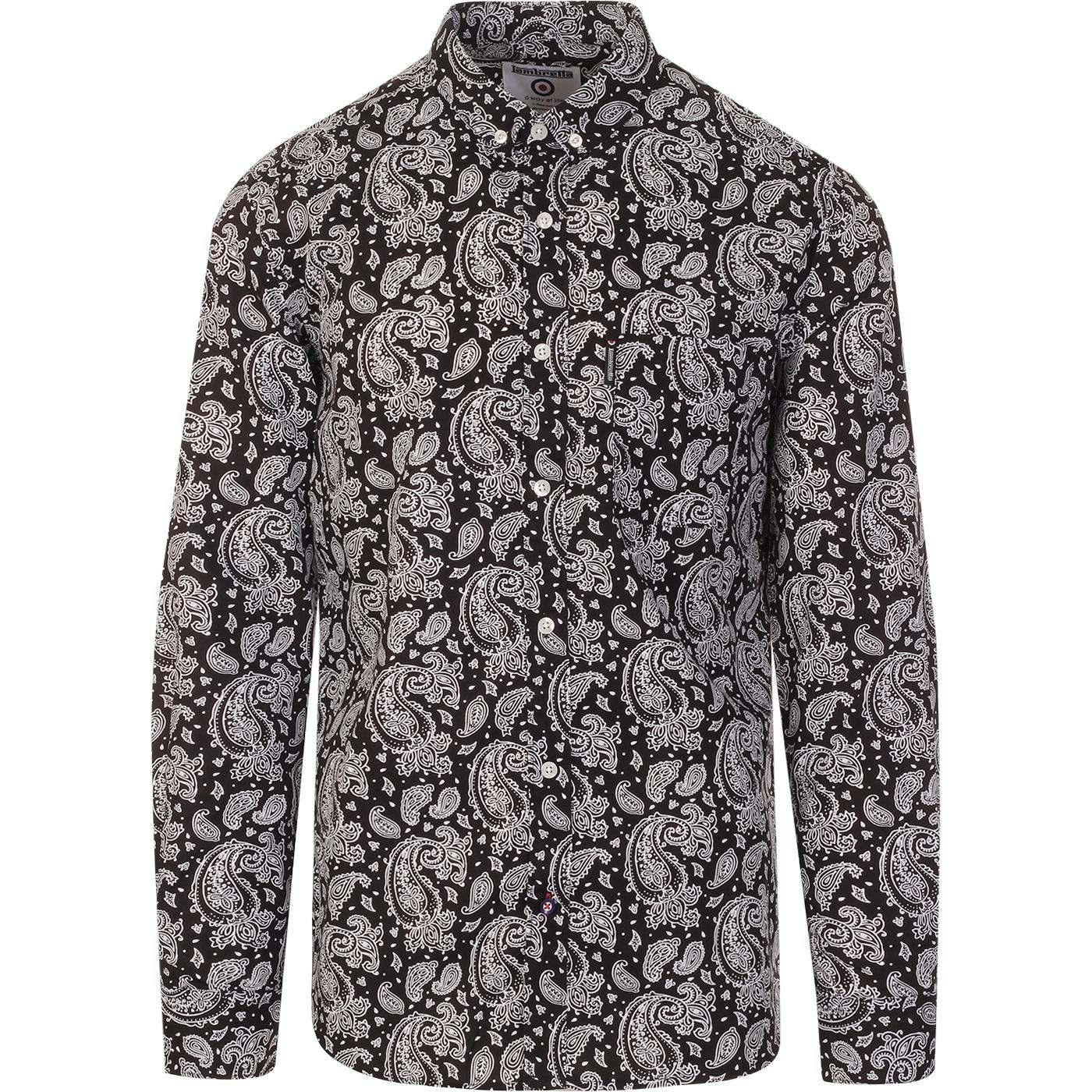 LAMBRETTA 60s Mod Button Down Paisley Shirt (B/W)