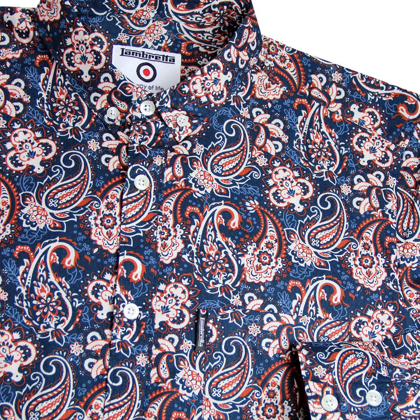 Lambretta Retro Button Down Navy Paisley Print 100/% Cotton Shirt