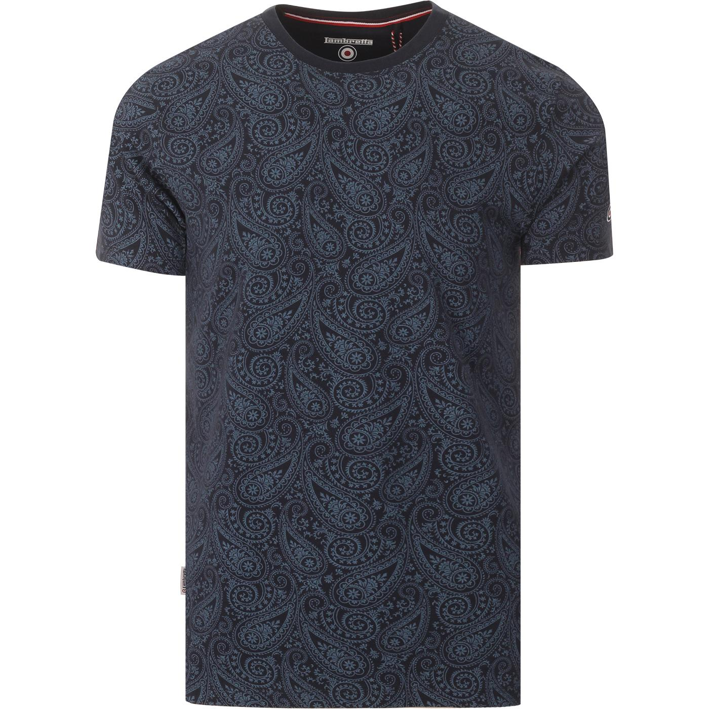 LAMBRETTA 60s Mod Paisley Print T-shirt (Navy)