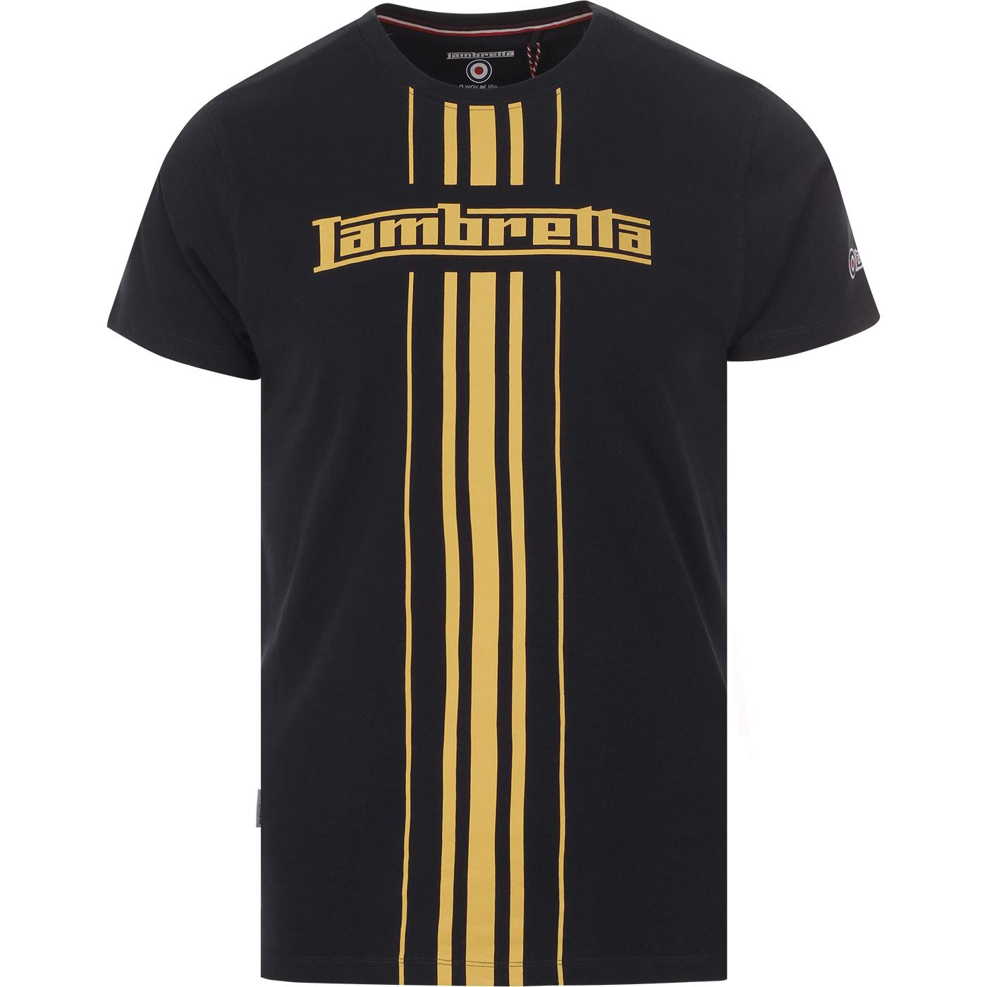 LAMBRETTA Retro Mod Centre Stripe T-shirt (Navy)