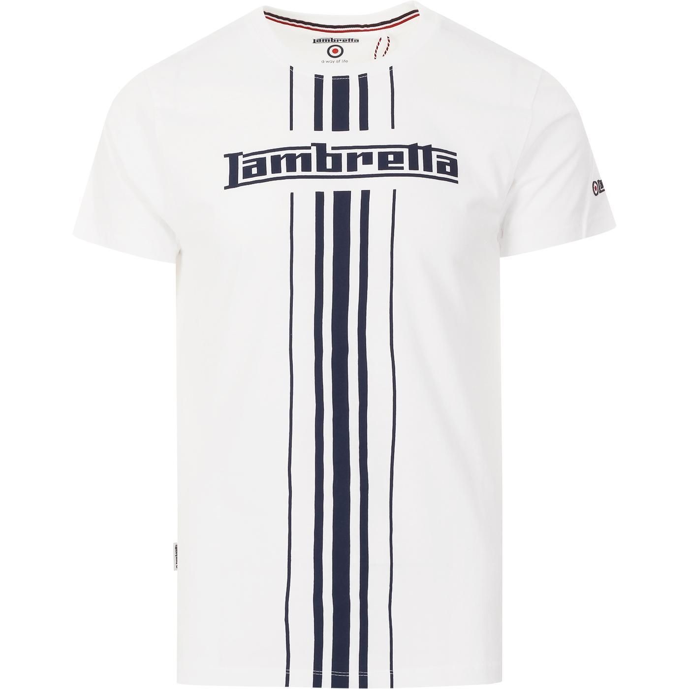LAMBRETTA Retro Mod Centre Stripe T-shirt (White)