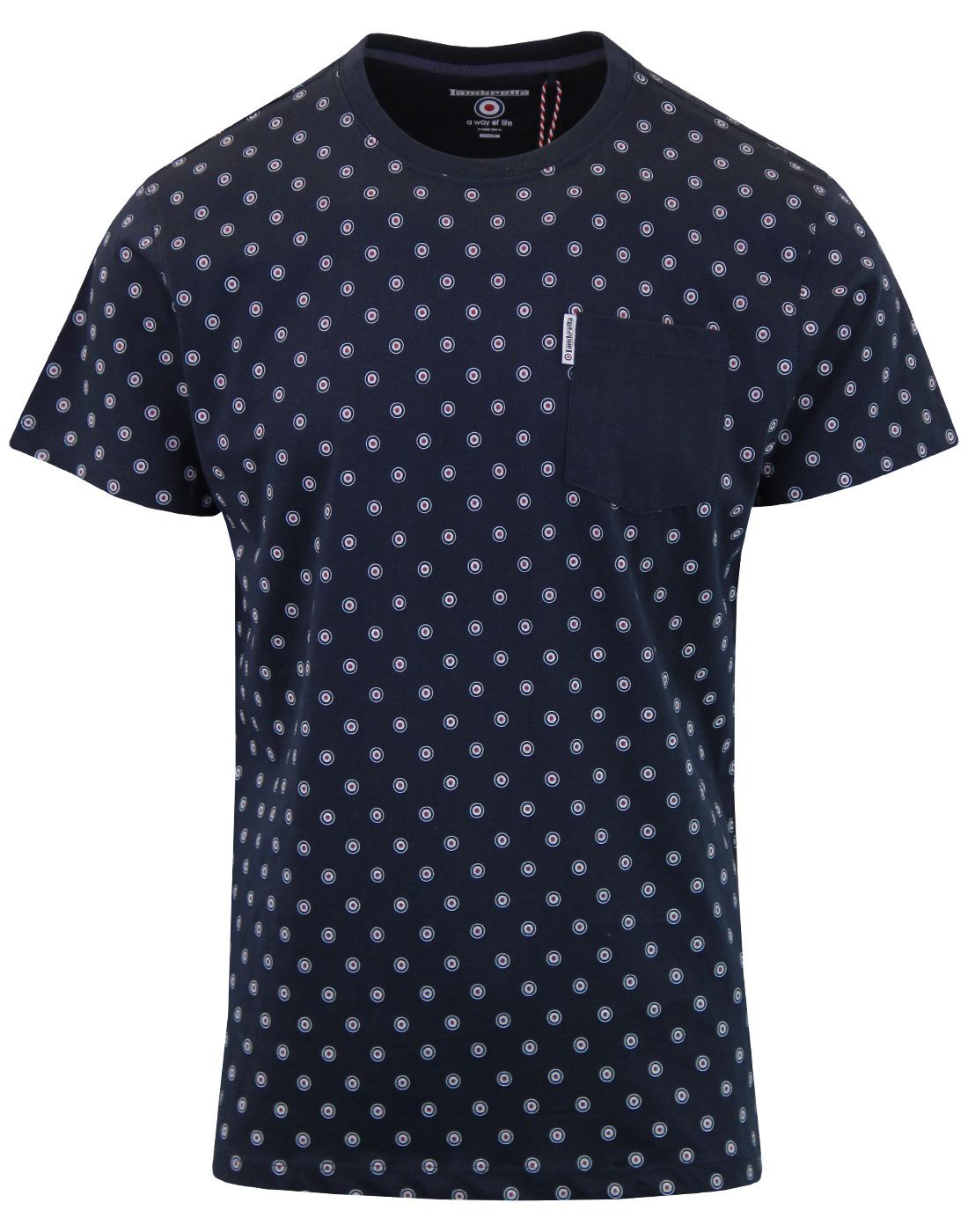 LAMBRETTA Retro Mod Target Pocket T-shirt (Navy)