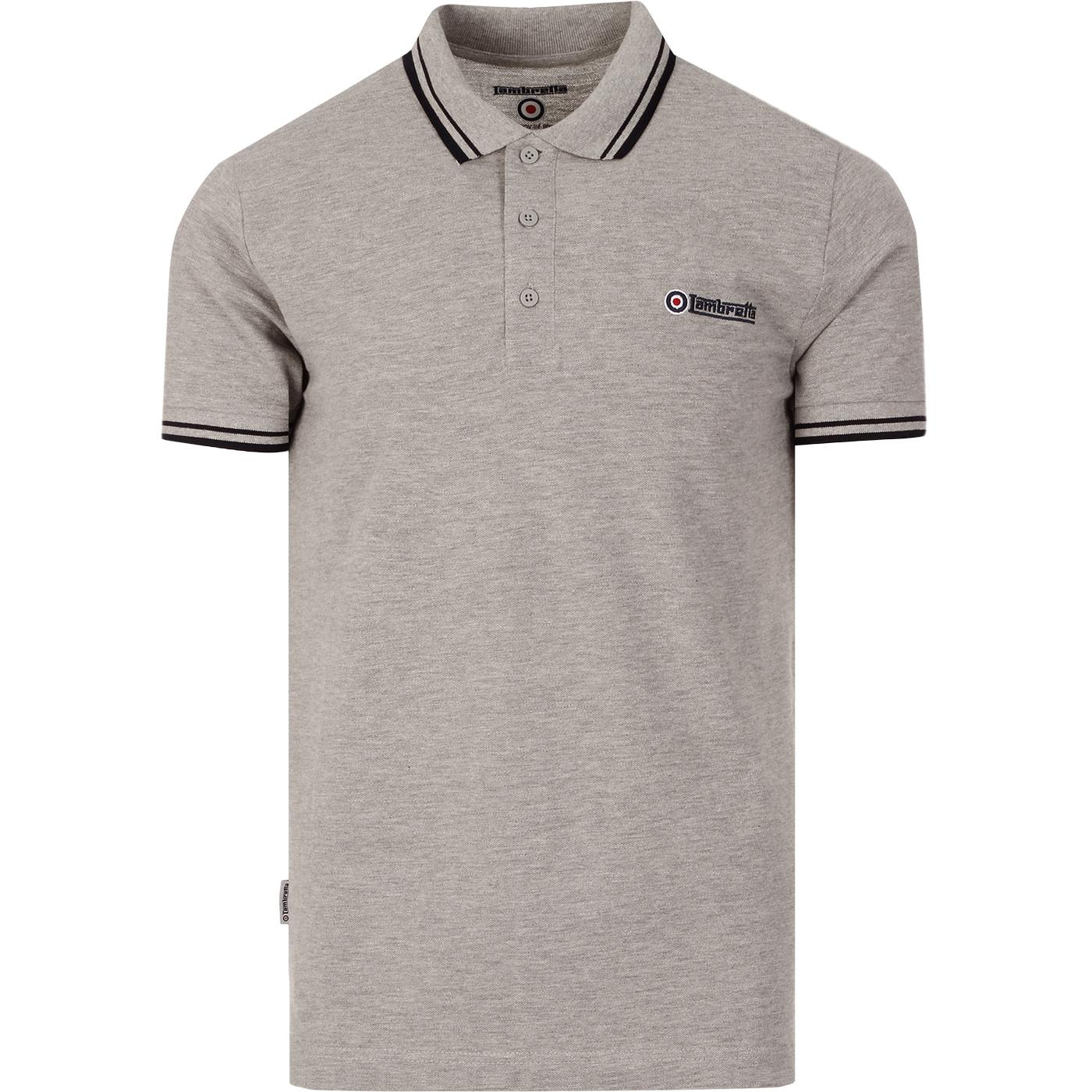 LAMBRETTA Retro Twin Tipped Pique Polo Shirt GM/N