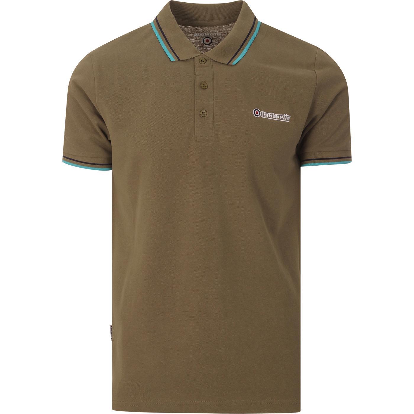LAMBRETTA Retro Twin Tipped Pique Polo Shirt (LG)