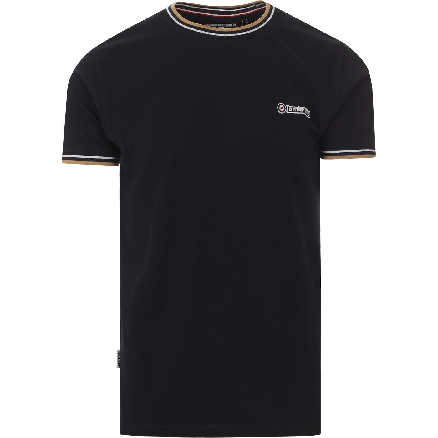 LAMBRETTA Men's Retro Tipped Pique T-shirt (Navy)