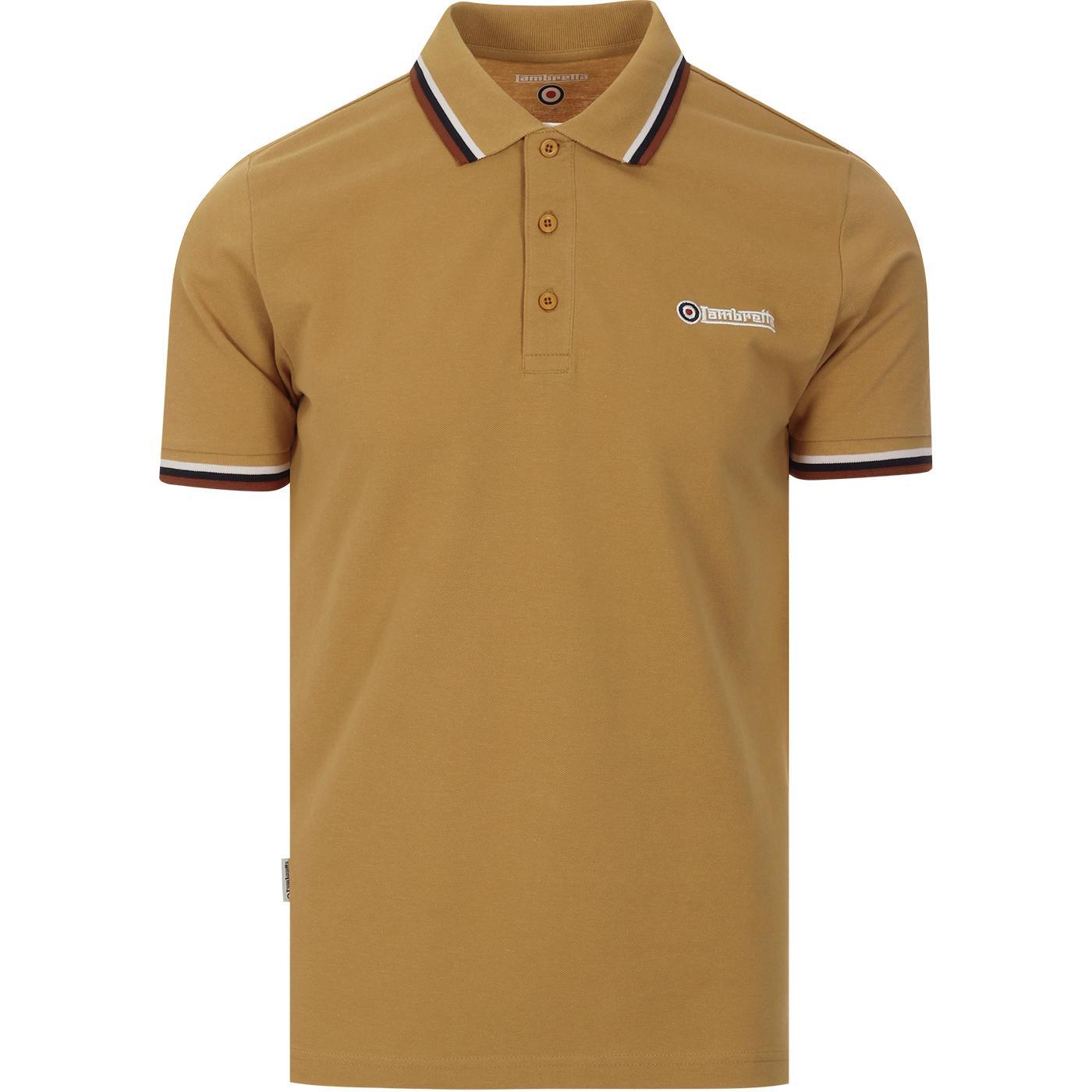 LAMBRETTA Triple Tipped Mod Pique Polo Shirt (Tan)