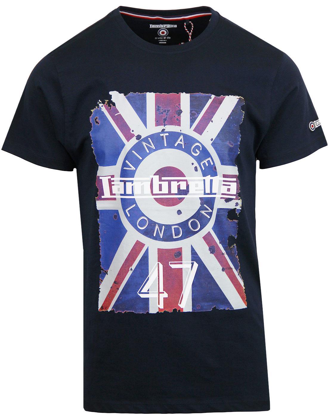 LAMBRETTA Mod Target Union Jack Flag T-shirt NAVY