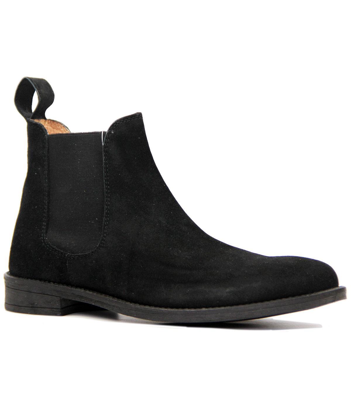 Retro 1960s Mod Black Suede Chelsea Boots