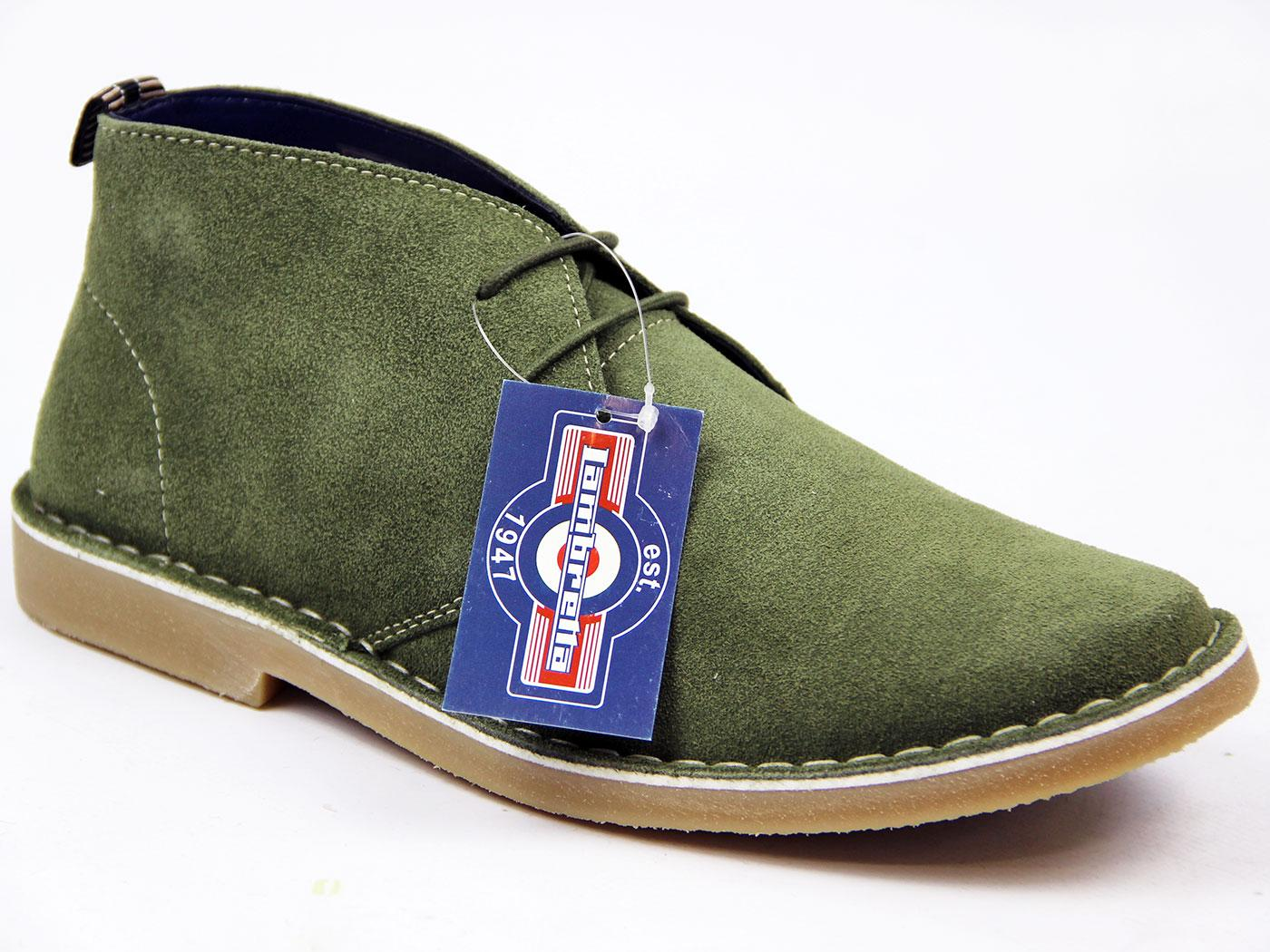 Retro 60s Mod Suede Desert Boots Olive