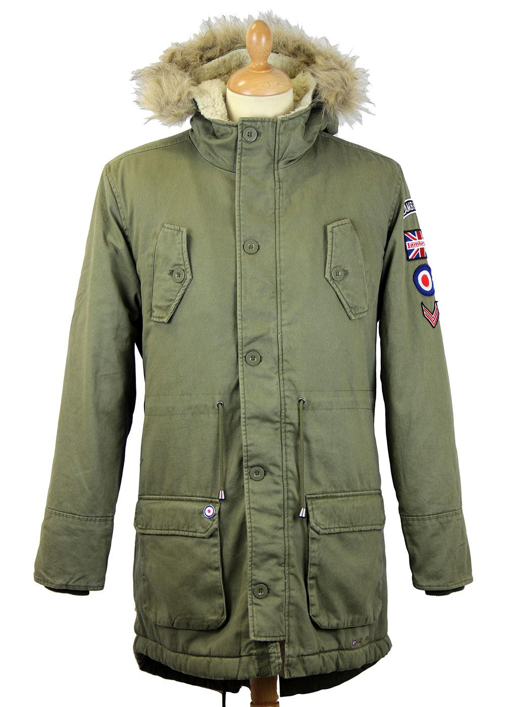 LAMBRETTA Retro 60s Mod Fishtail Parka Jacket with Patches