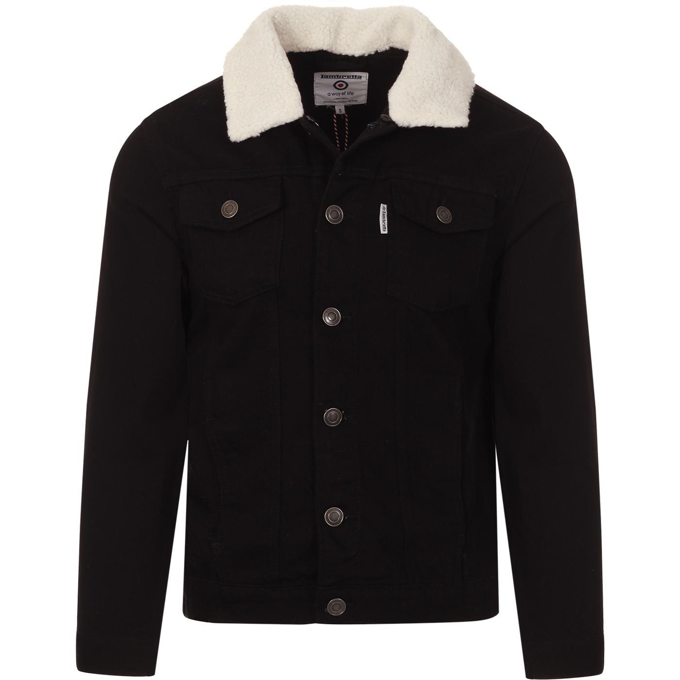 LAMBRETTA Sherpa Collar Denim Trucker Jacket (B)