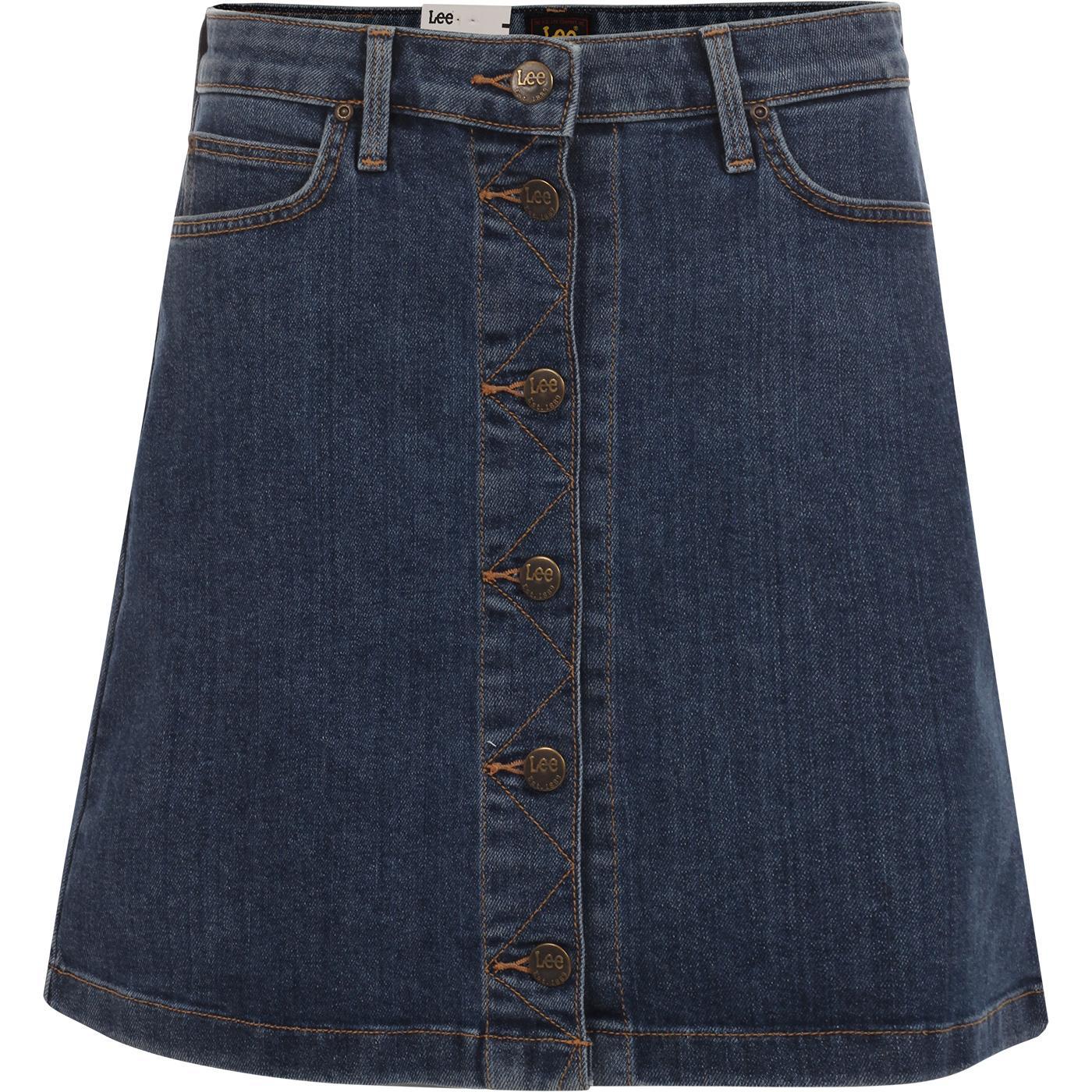 LEE Retro 1970s A-line Denim Midi Skirt (Blue)