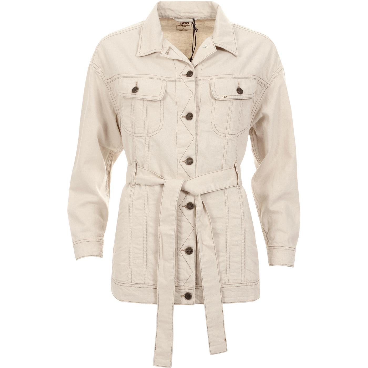 L54RMN35 Belted Rider Jacket Off White