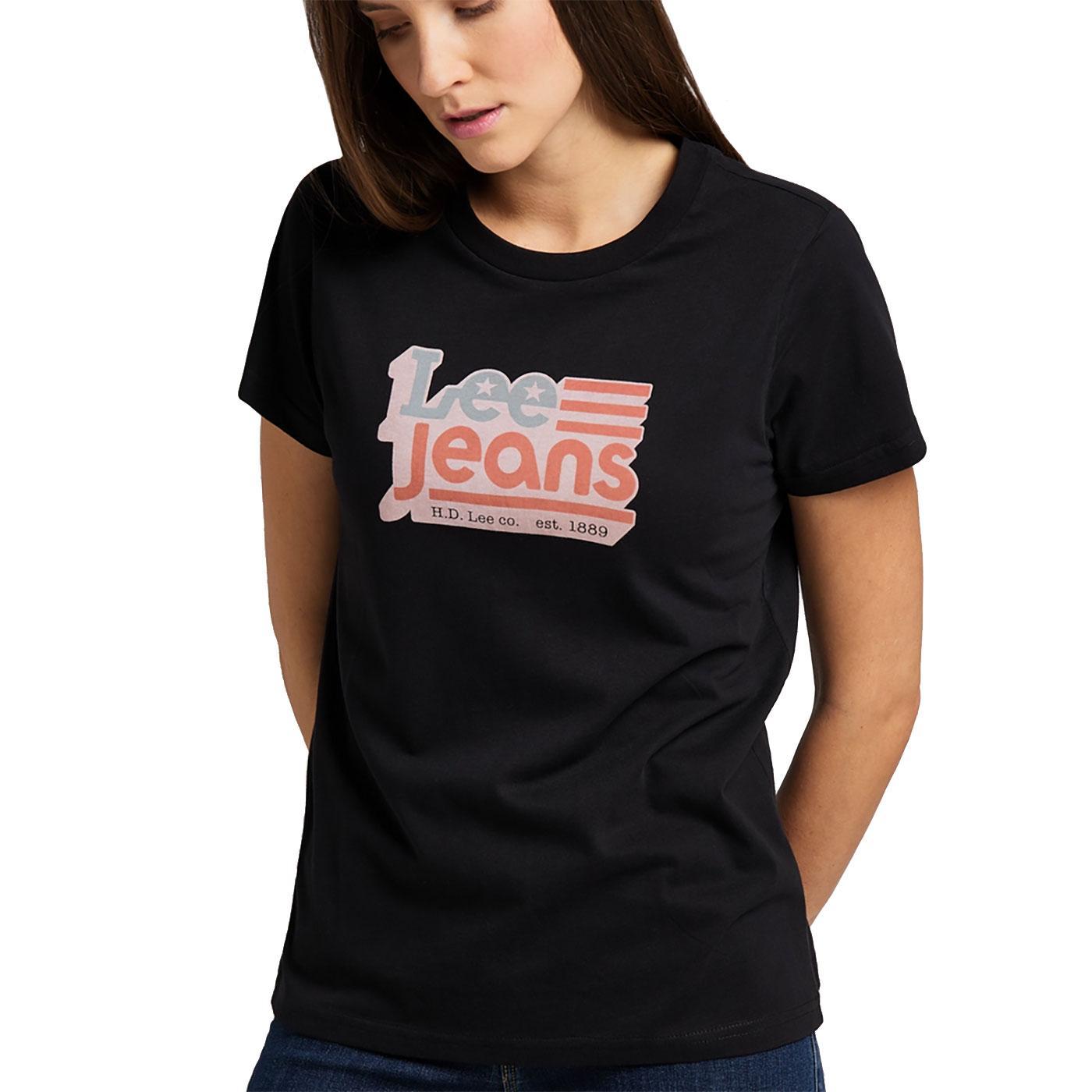 LEE JEANS Womens Retro American Logo Crew Tee