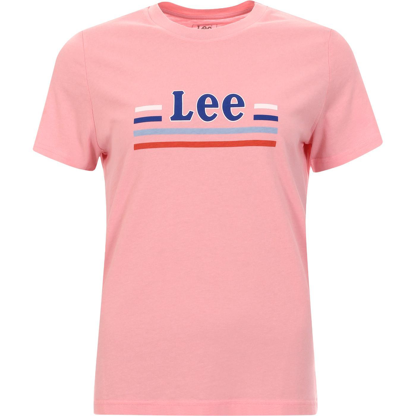 LEE Women's Essential Retro Stripe Logo Tee (Pink)