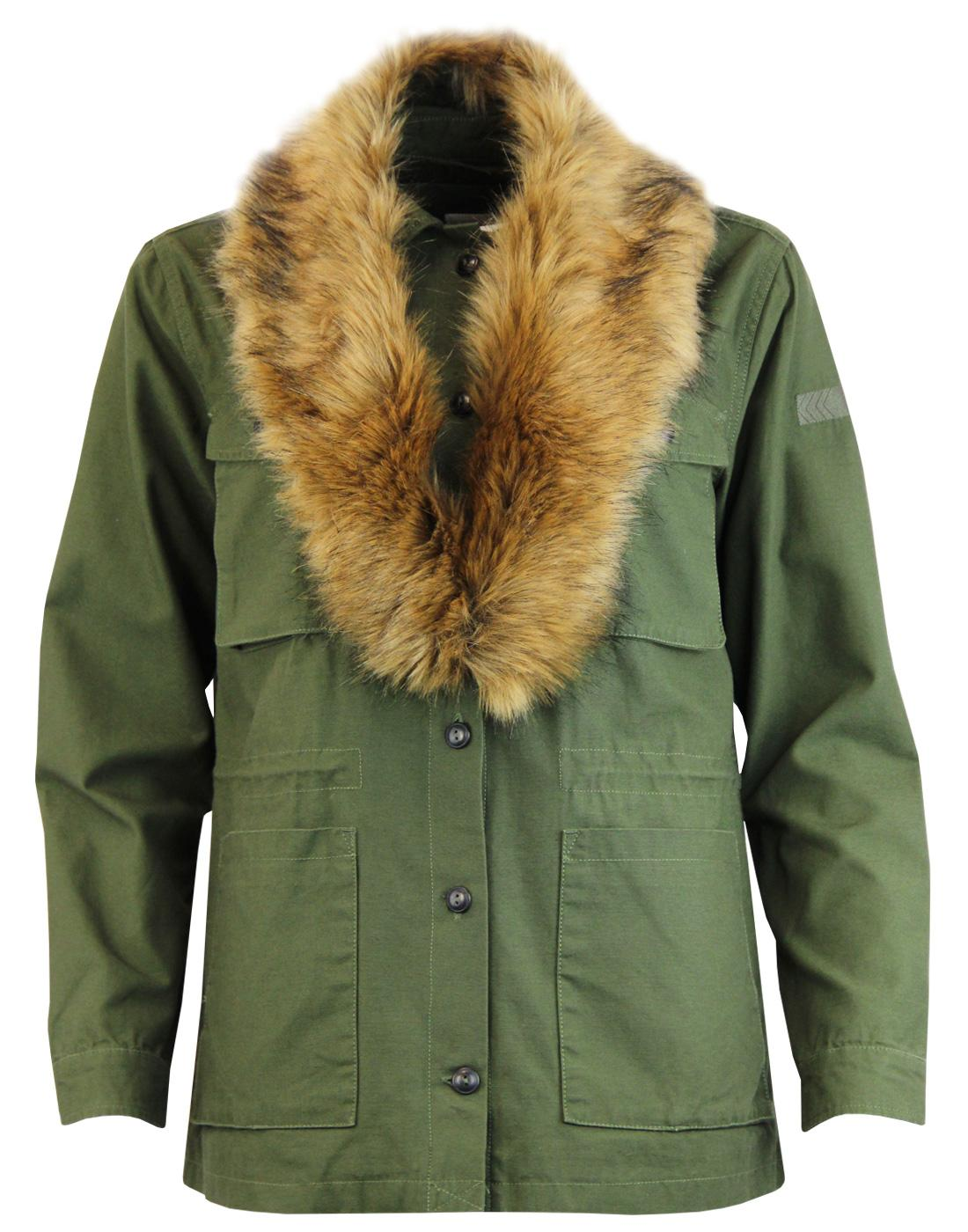 LEE Retro Fur Trimmed Button Up Military Jacket